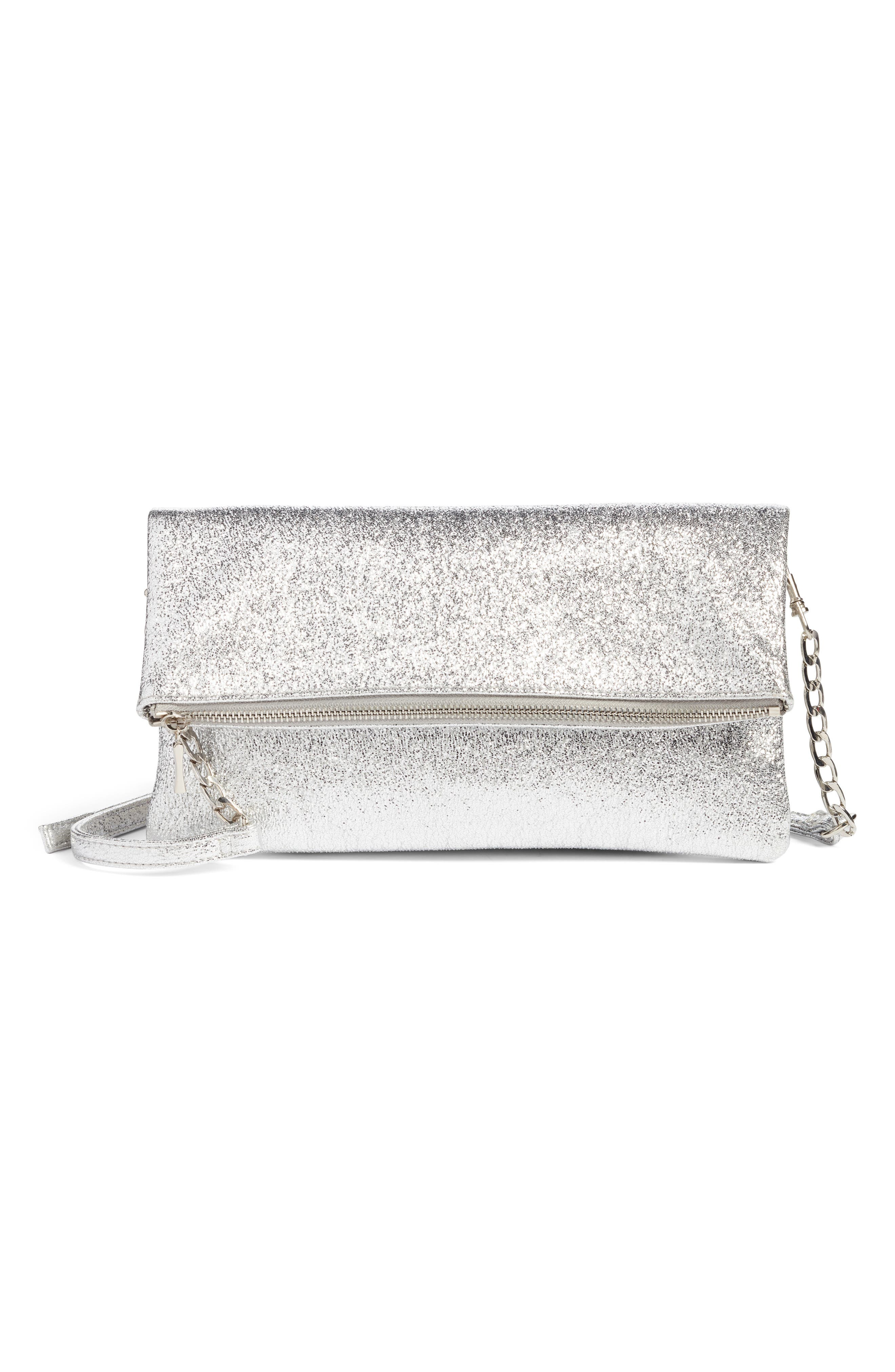 Maci Crinkle Faux Leather Foldover Clutch,                             Main thumbnail 1, color,                             Silver