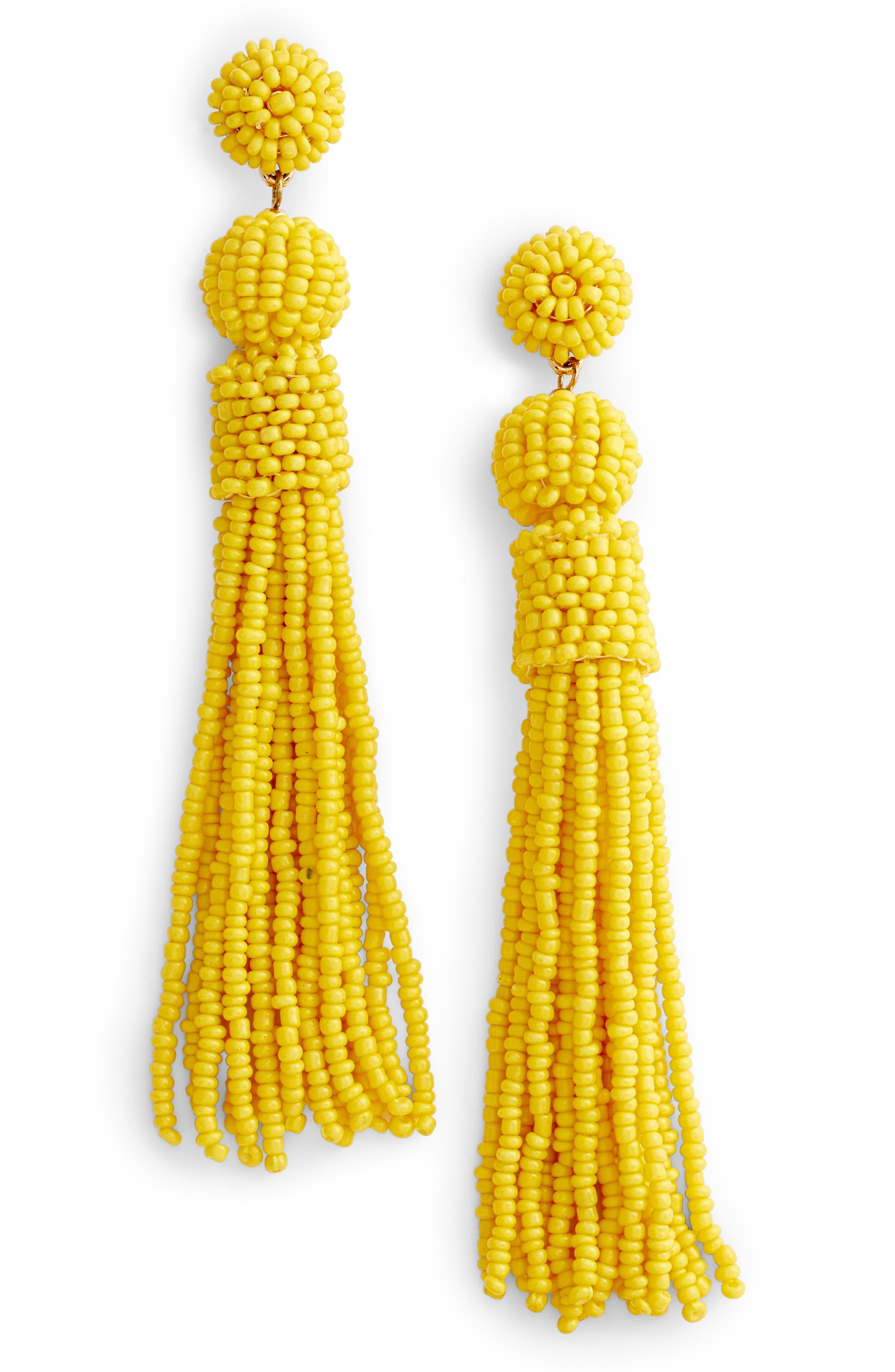 Mariachi Beaded Tassel Earrings,                             Main thumbnail 1, color,                             Neon Yellow