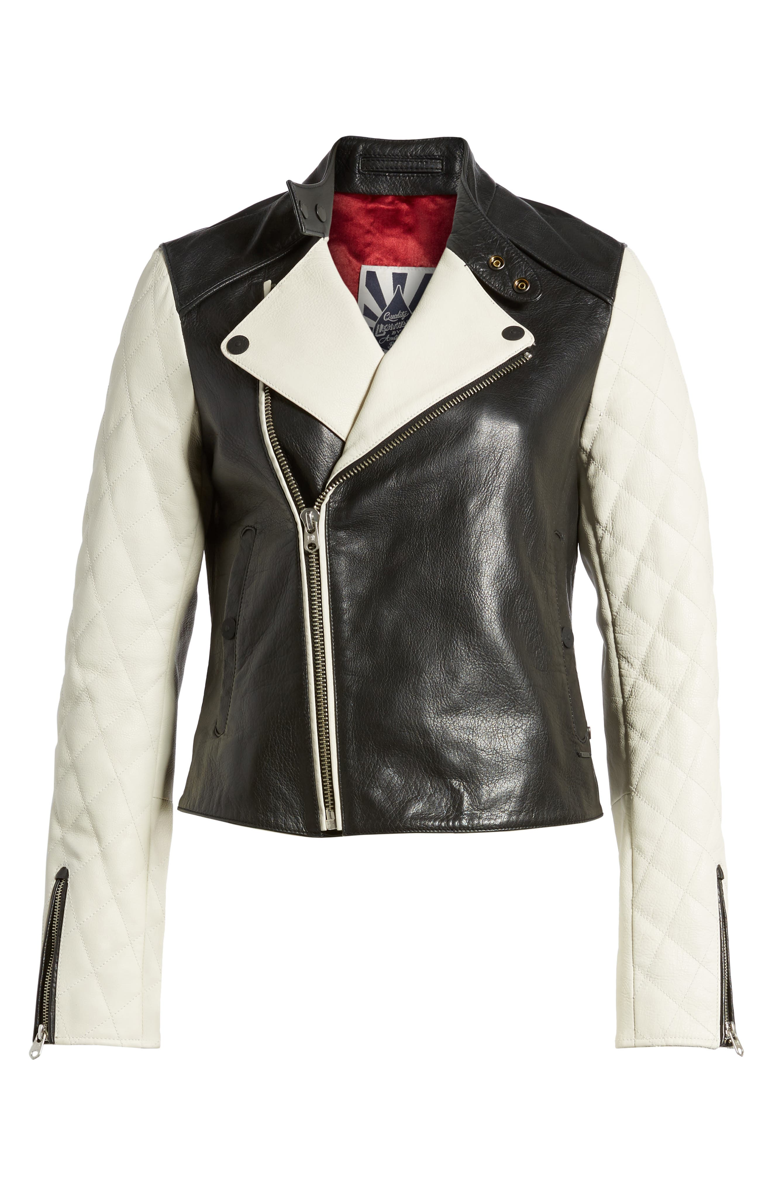 Quilted Sleeve Leather Biker Jacket,                             Alternate thumbnail 6, color,                             Black / Off White