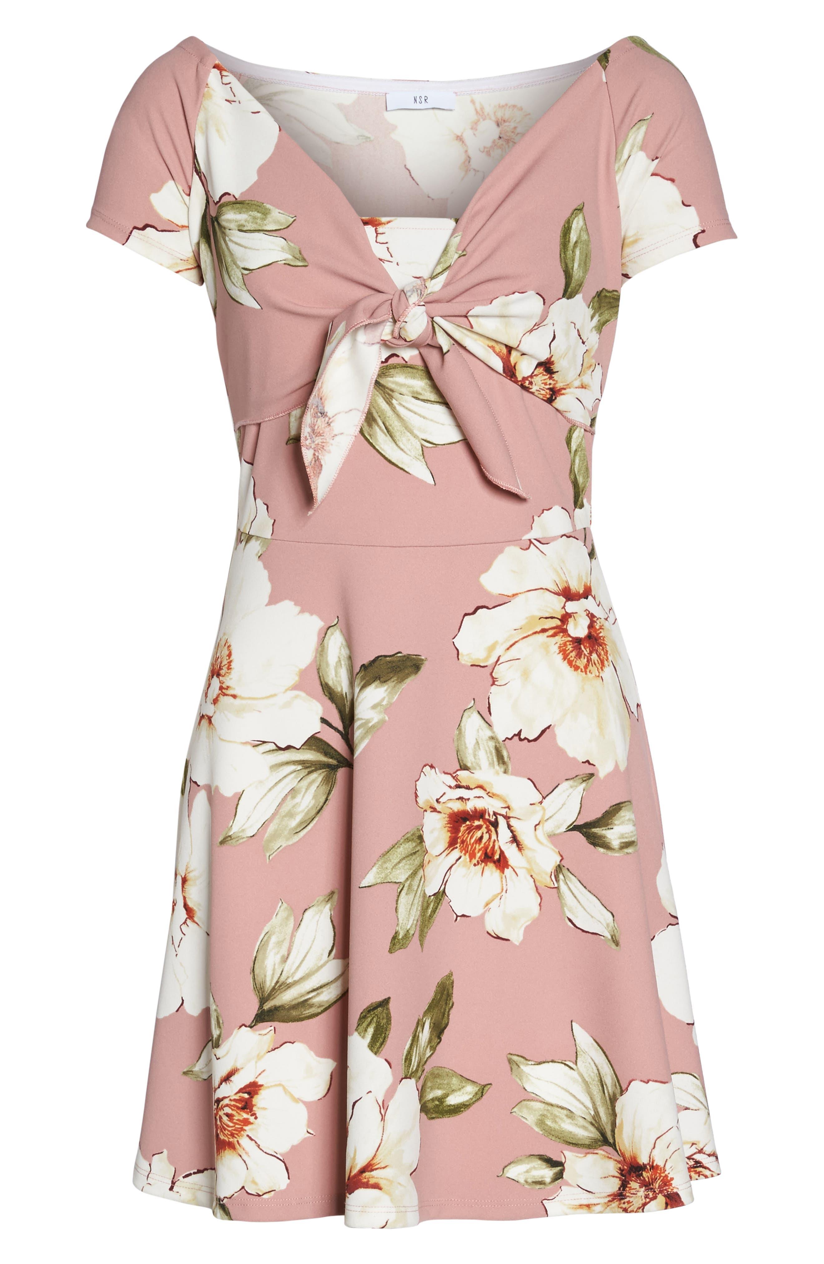 Tie Front Crepe Fit & Flare Dress,                             Alternate thumbnail 6, color,                             Mauve