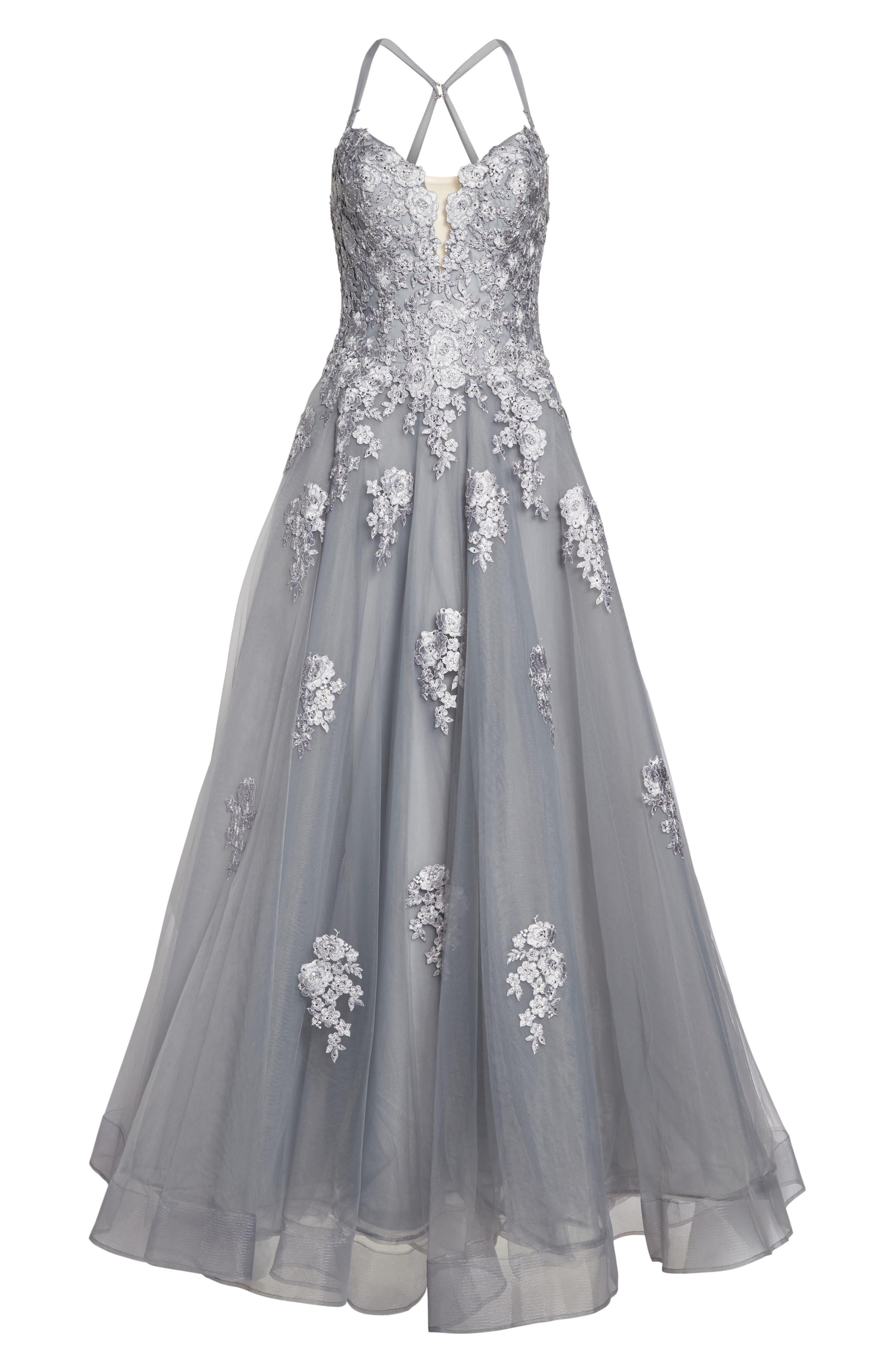 Alternate Image 6  - La Femme Embellished Mesh Halter Ballgown