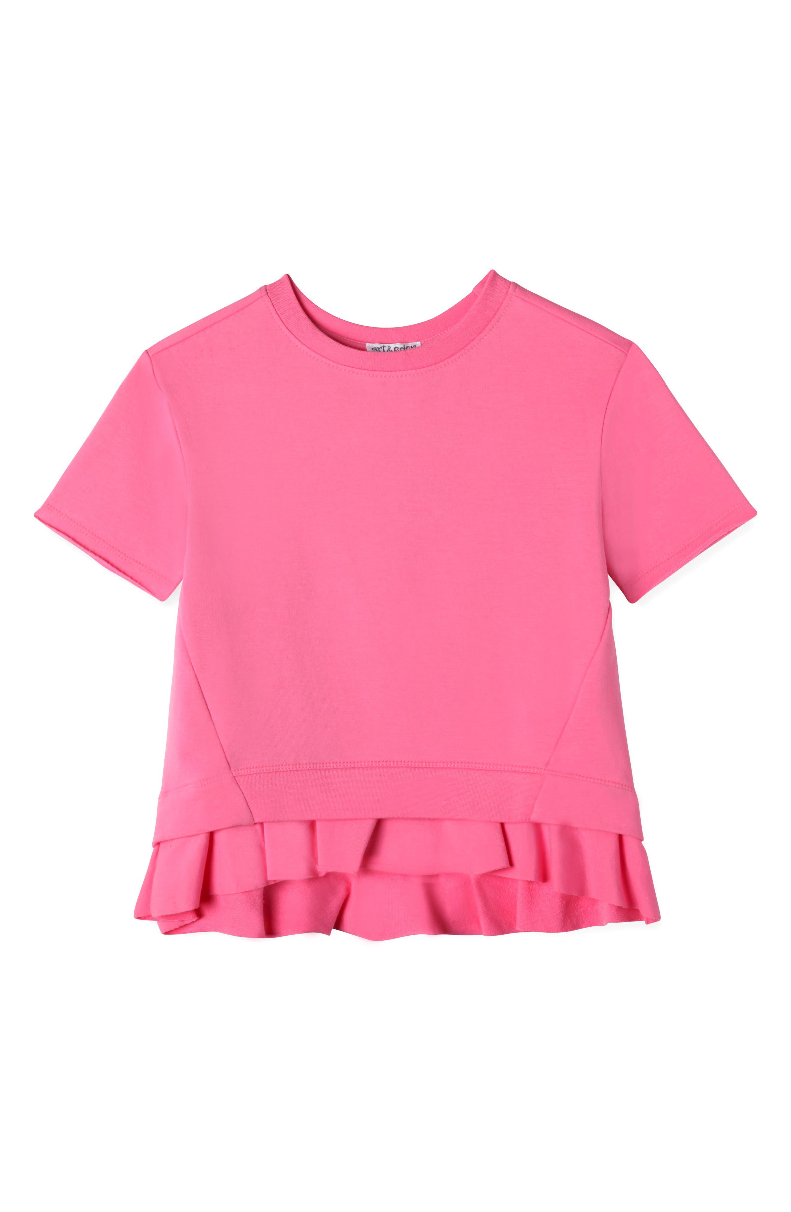 Ruffle Pullover,                             Main thumbnail 1, color,                             Pink Pcr