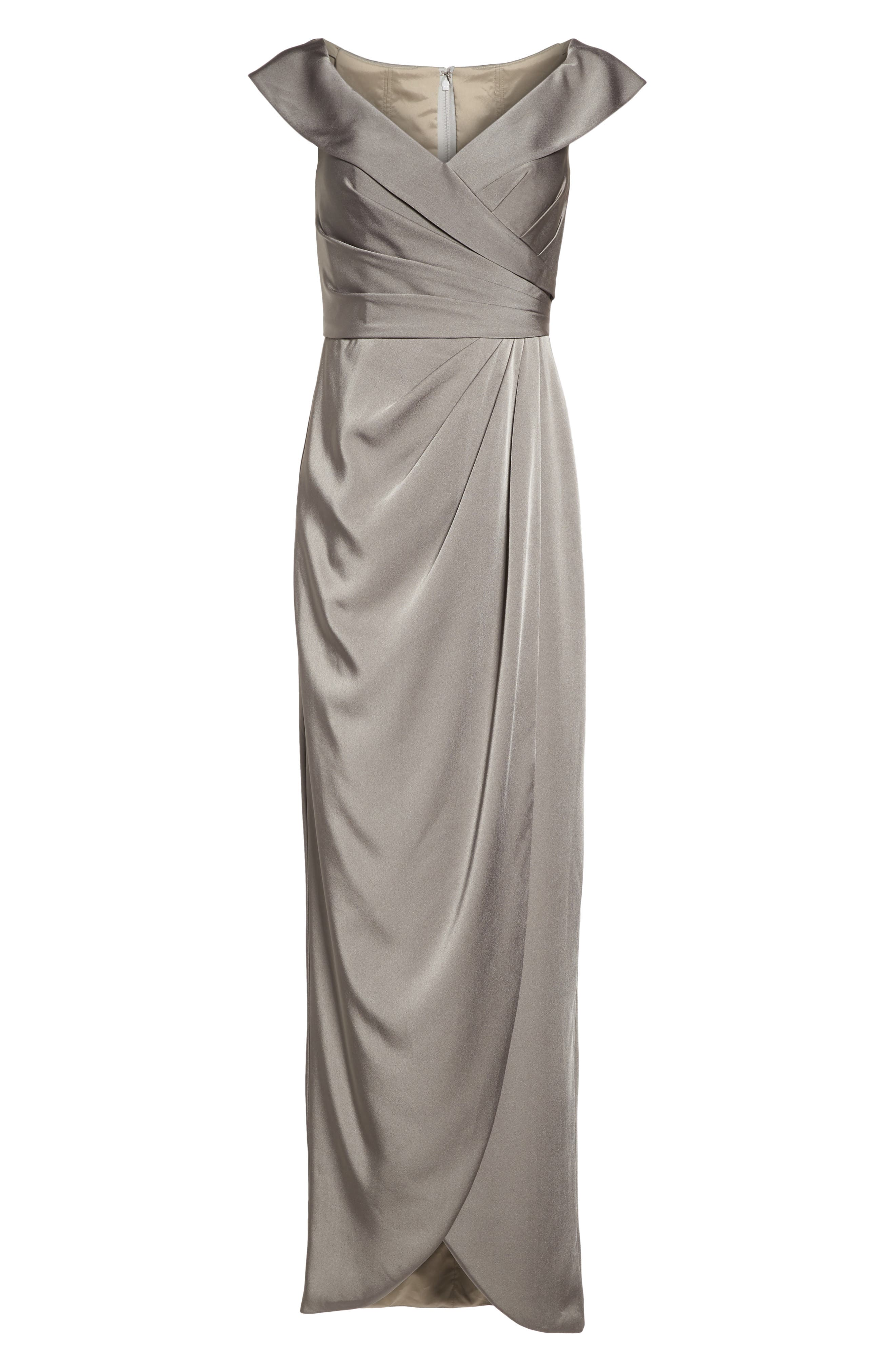Surplice Off the Shoulder Gown,                             Alternate thumbnail 6, color,                             Pewter