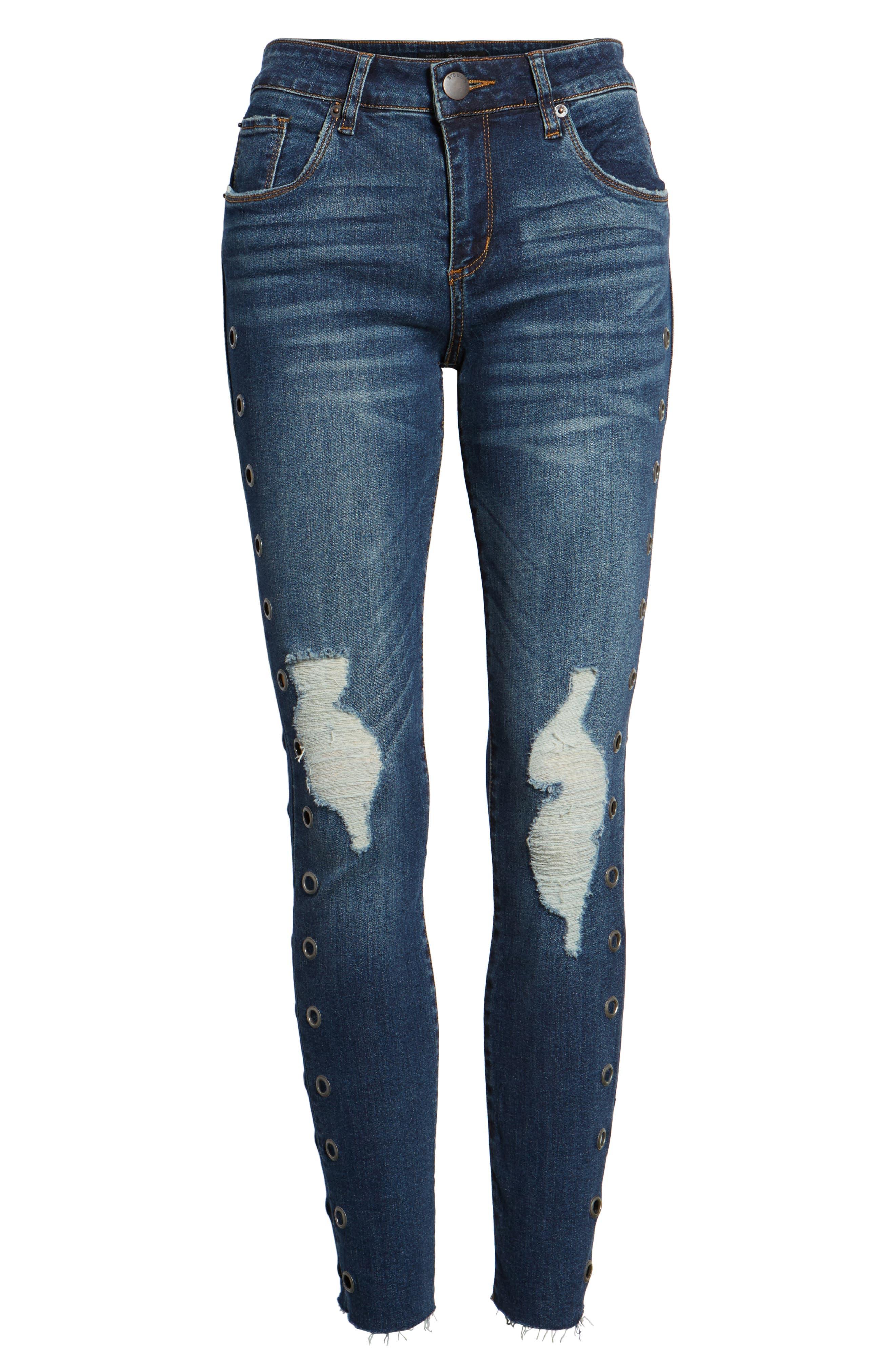 Piper Grommet Detail Skinny Jeans,                             Alternate thumbnail 6, color,                             Westgate