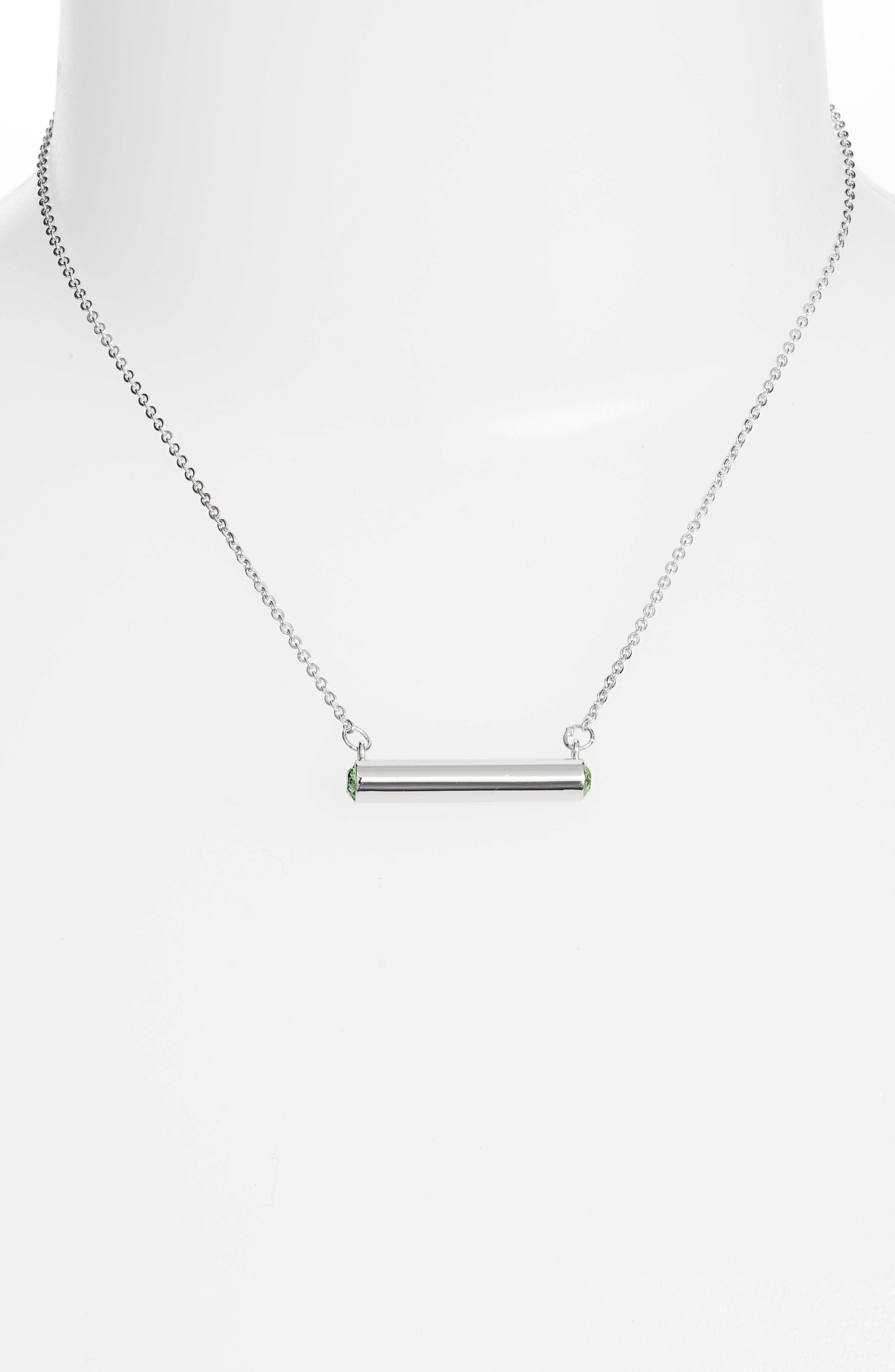 August Crystal Bar Pendant Necklace,                             Alternate thumbnail 2, color,                             Silver