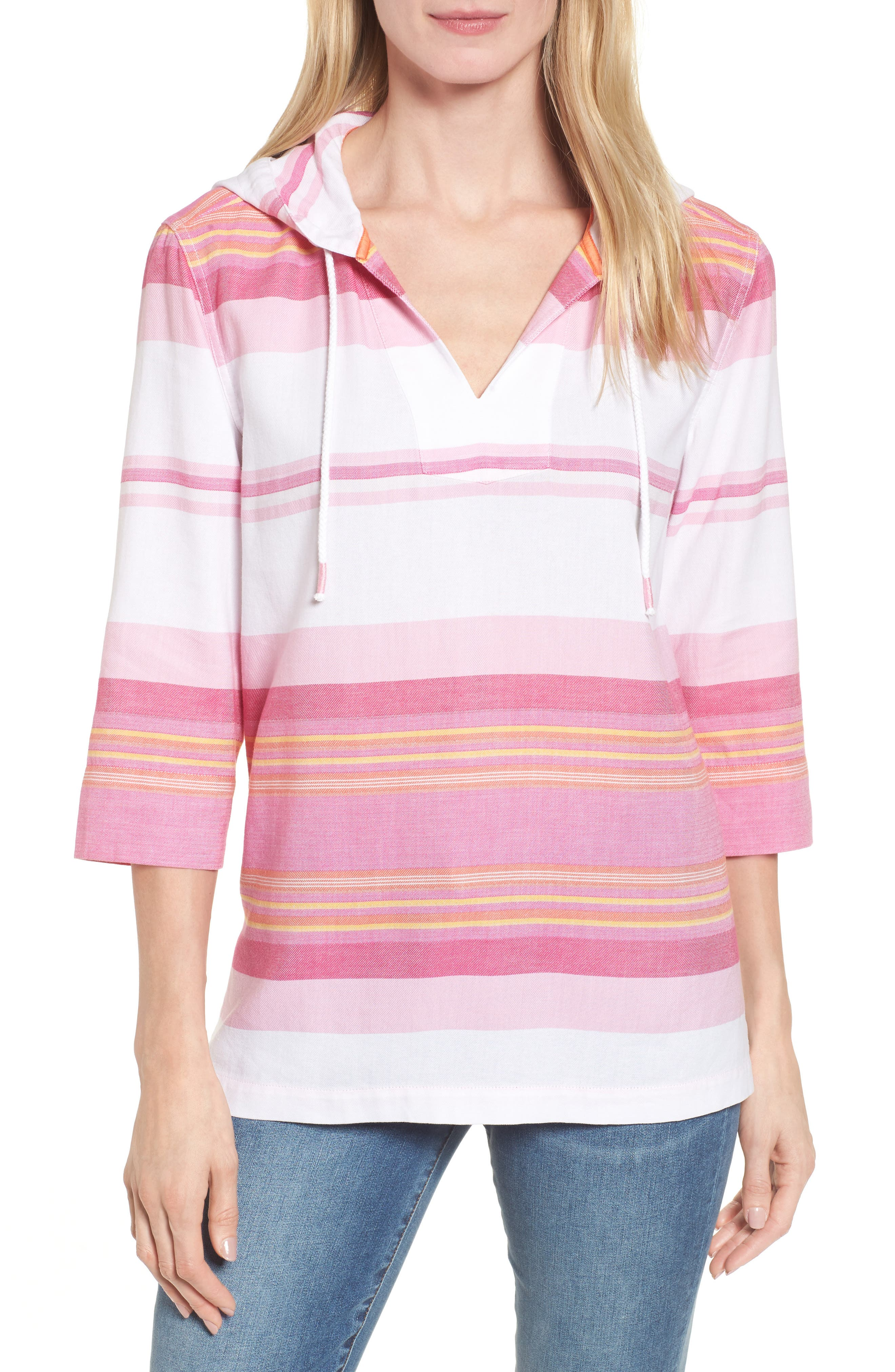 Sunset Stripe Hoodie,                         Main,                         color, Rose Bed