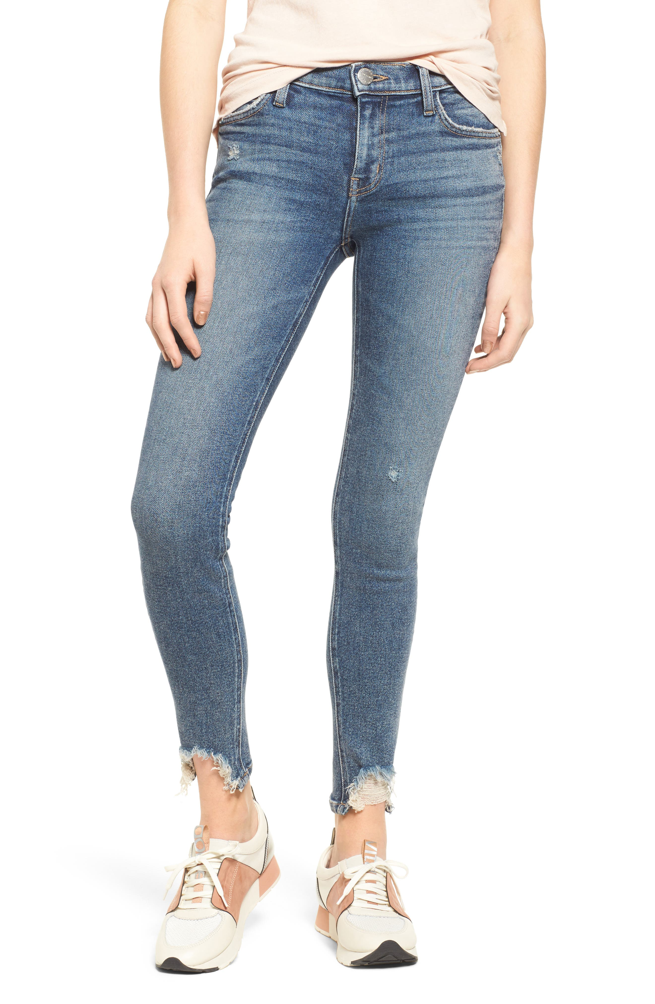 Main Image - Current/Elliott The Stiletto High Waist Ankle Skinny Jeans (Zayden)