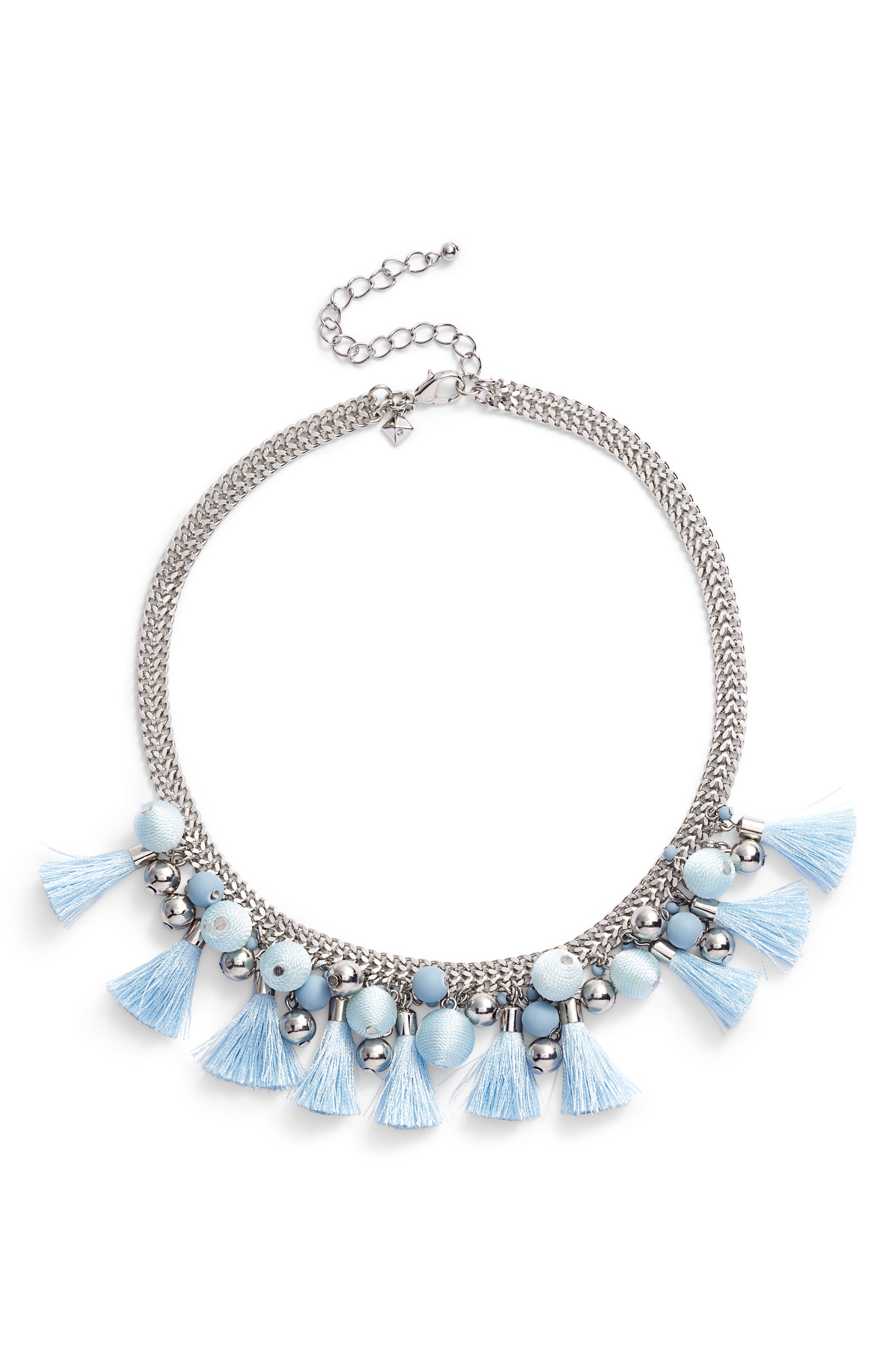Bauble & Tassel Collar Necklace,                             Main thumbnail 1, color,                             Blue/ Silver