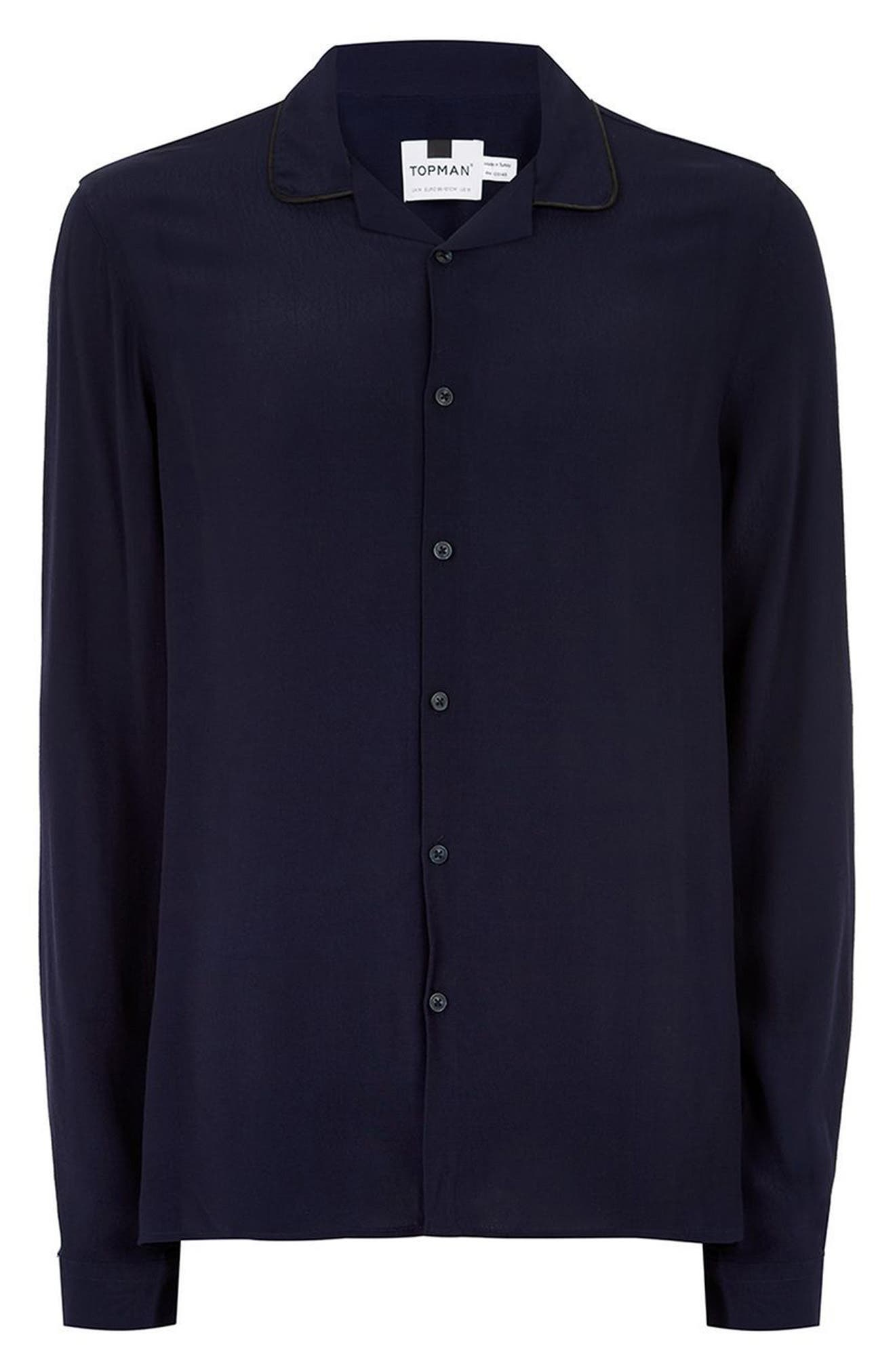 Piped Crepe Shirt,                             Alternate thumbnail 4, color,                             Navy Blue