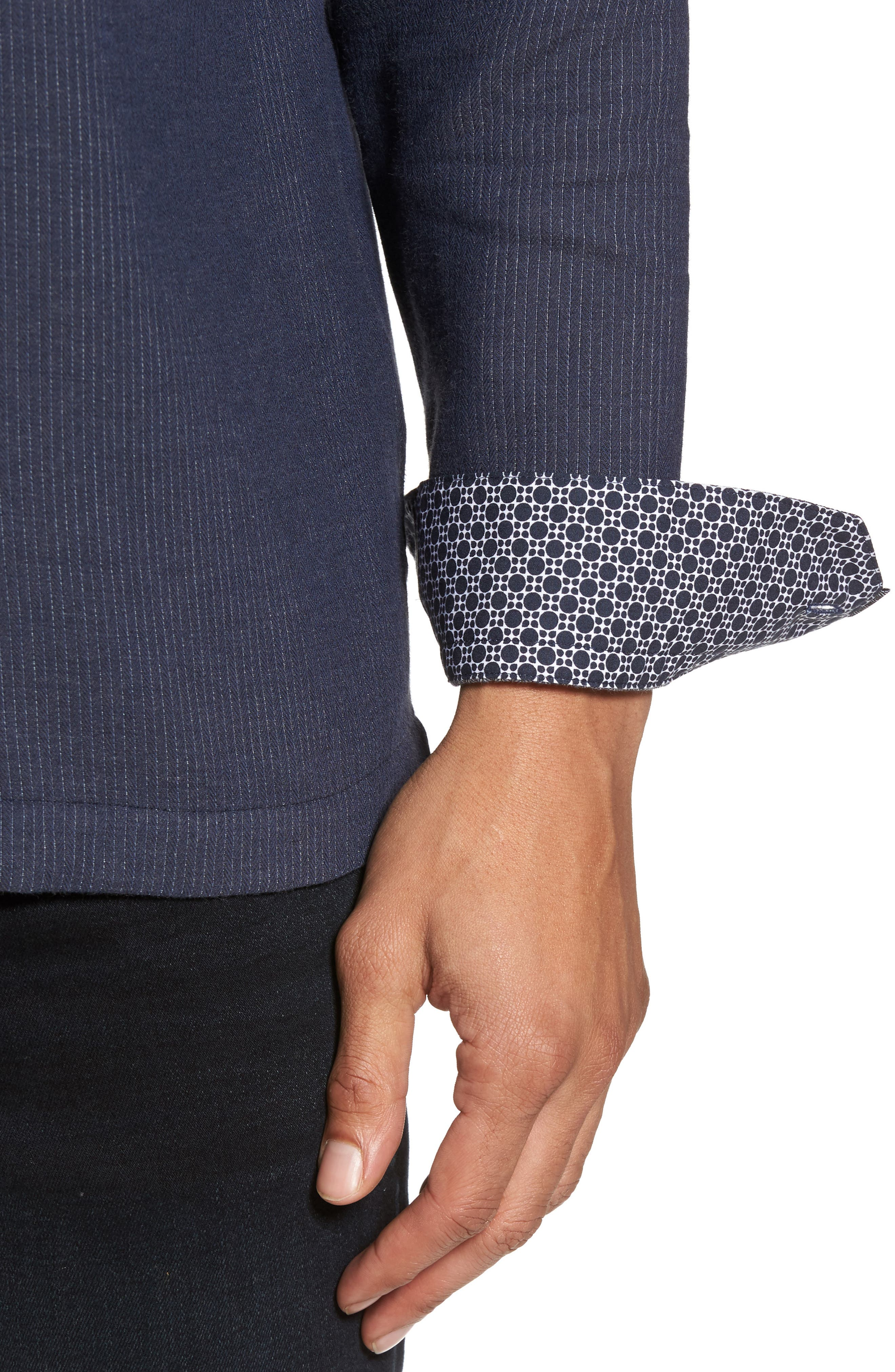 Slim Fit Stripe Workwear Shirt,                             Alternate thumbnail 4, color,                             Navy