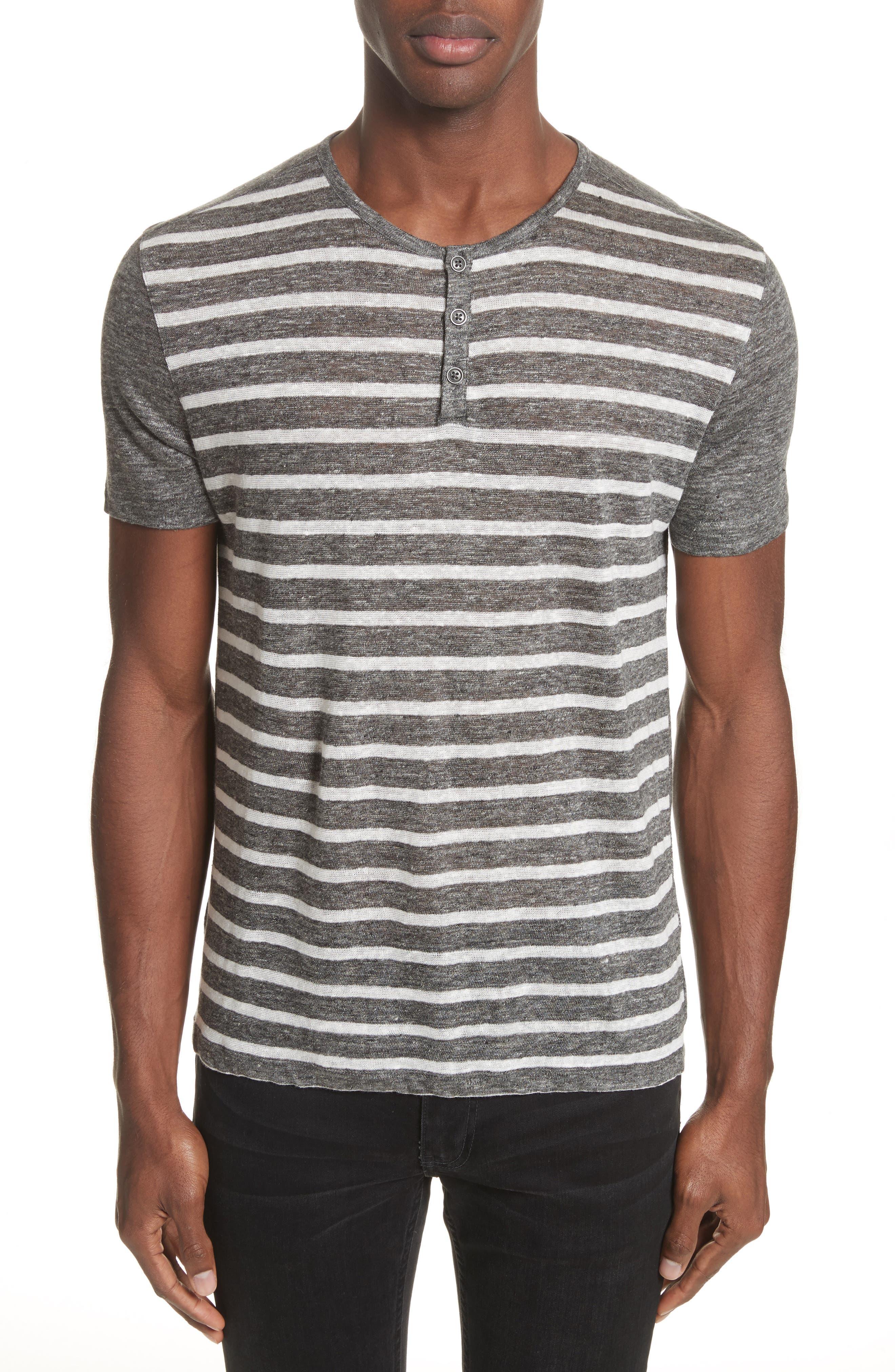 John Varvatos Collection Stripe Linen Henley T-Shirt