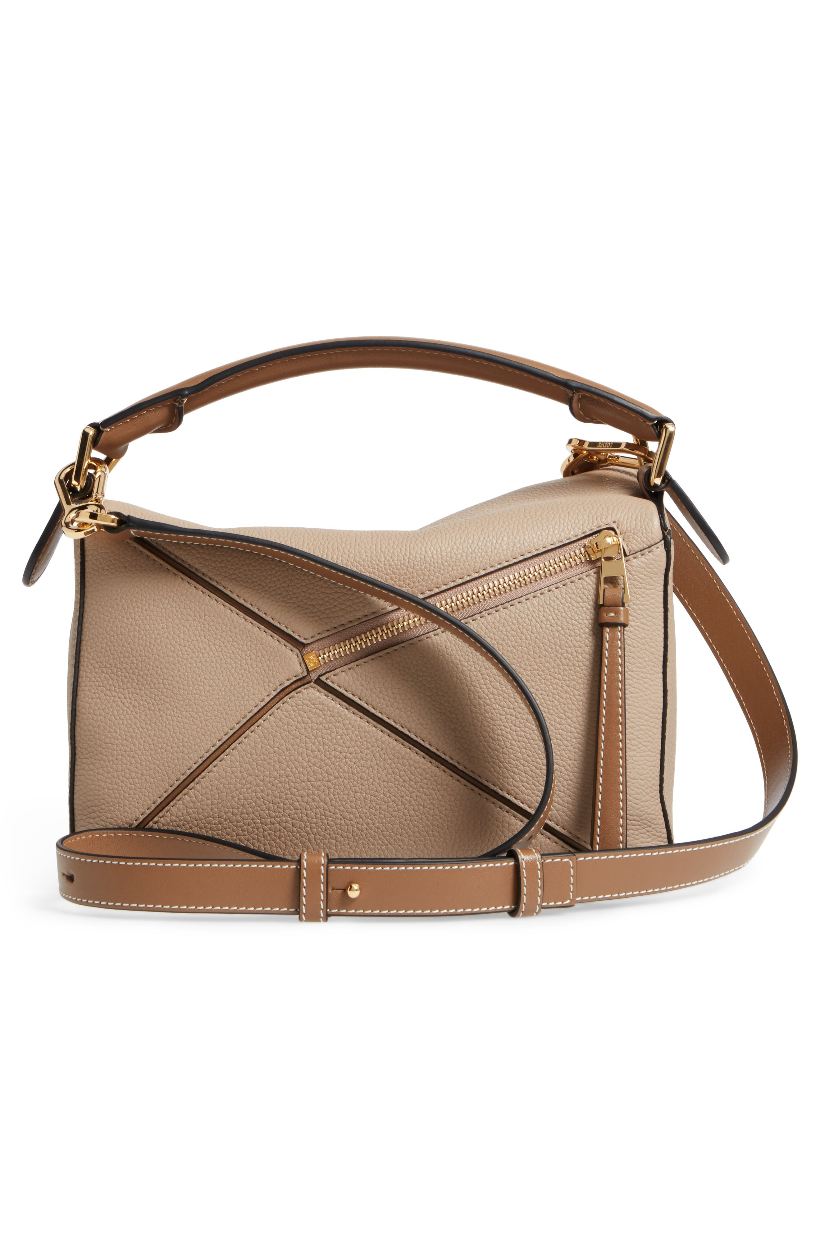 Small Puzzle Leather Bag,                             Alternate thumbnail 3, color,                             Sand/ Mink