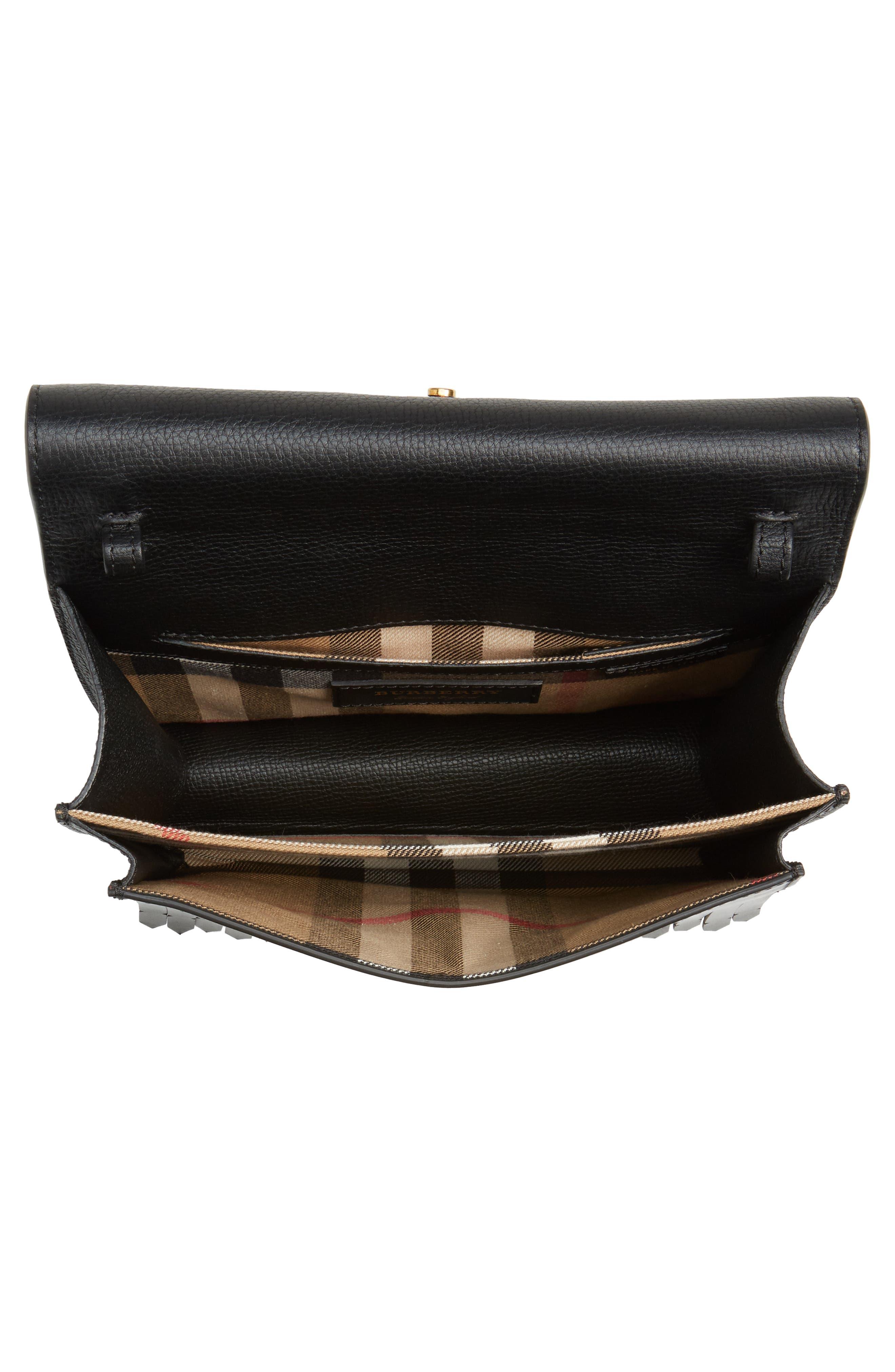 Macken Fringe Leather Crossbody Bag,                             Alternate thumbnail 4, color,                             Black