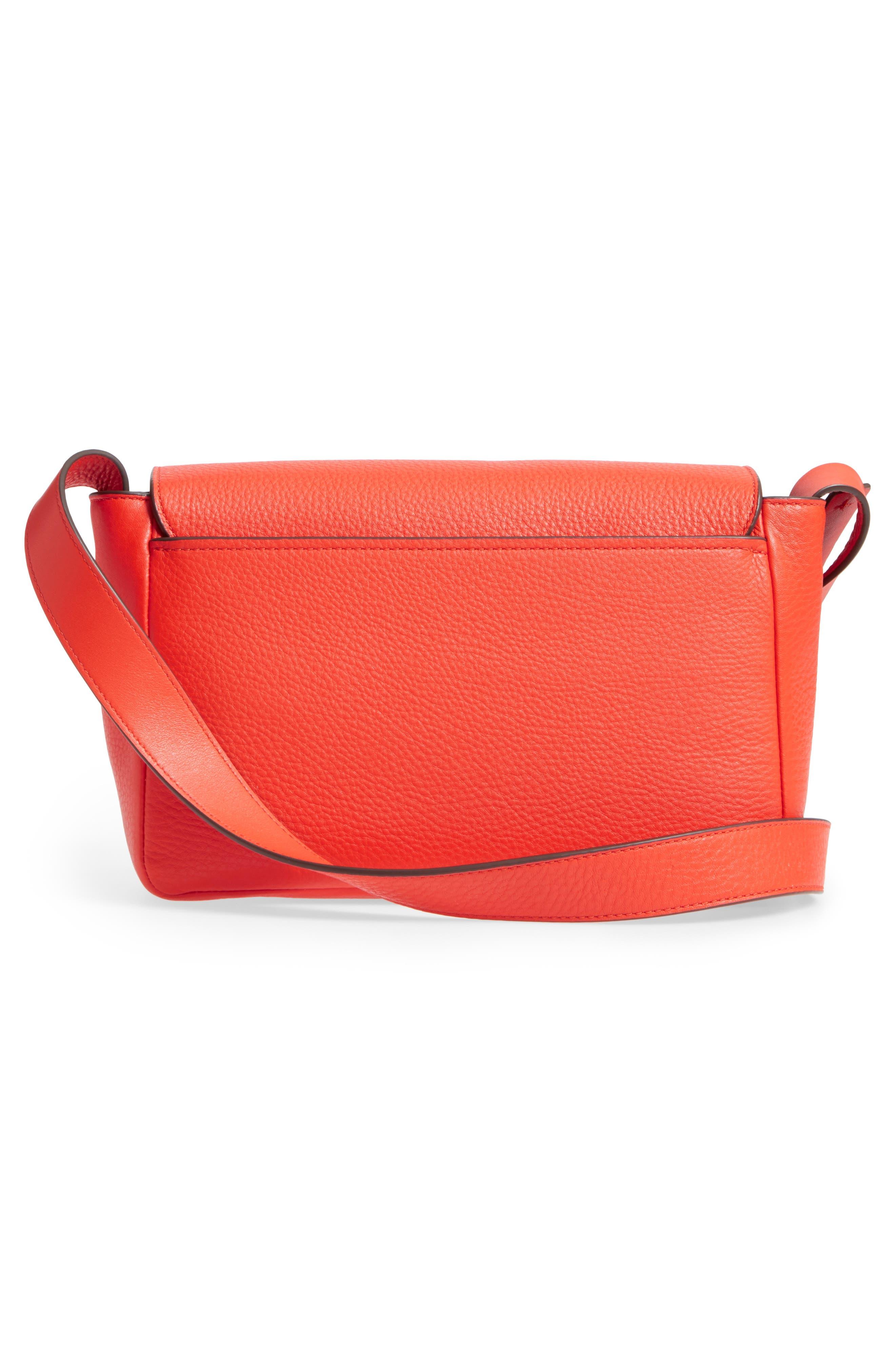 Block-T Pebbled Leather Shoulder Bag,                             Alternate thumbnail 3, color,                             Spicy Orange