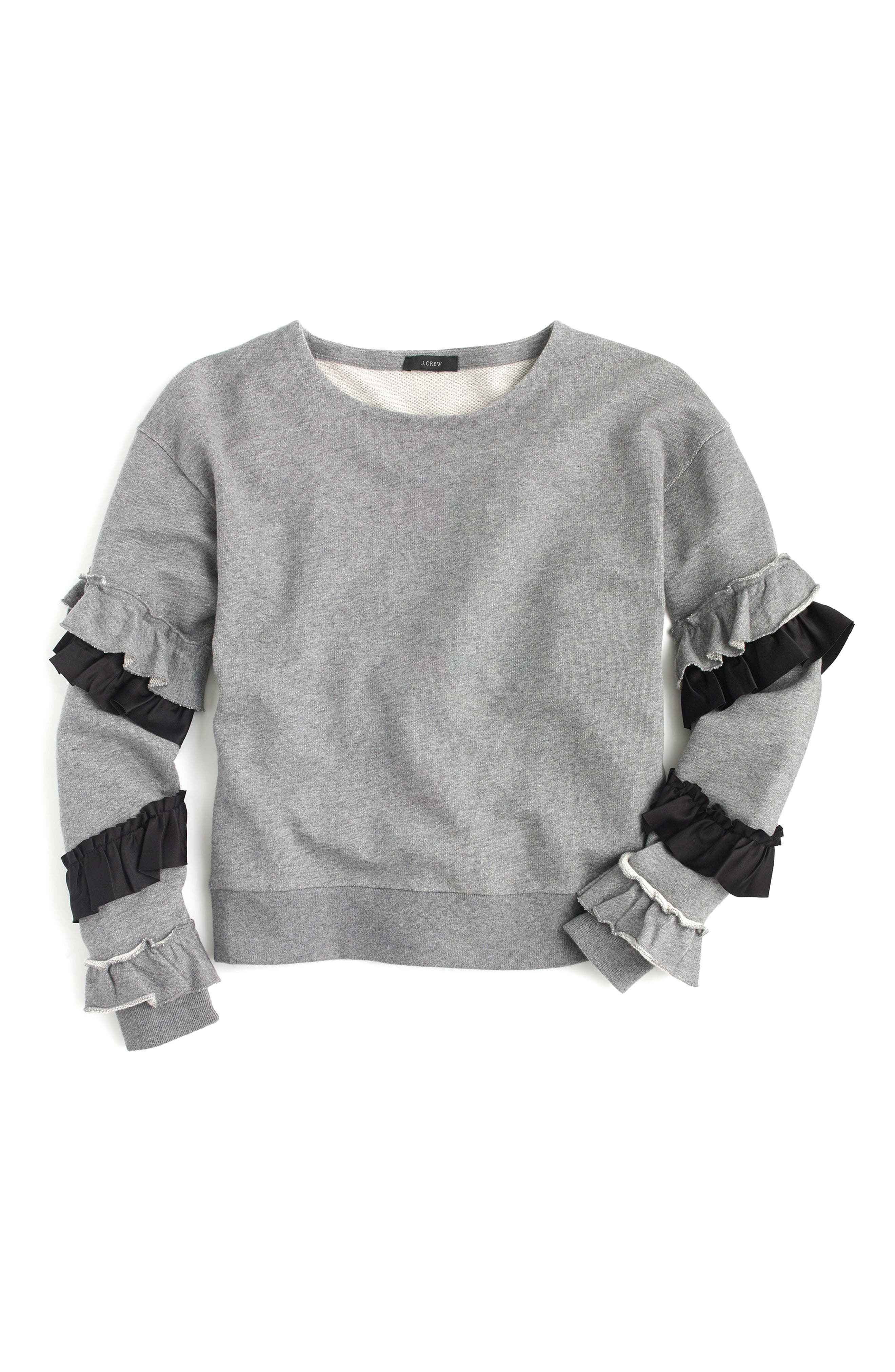 Ruffle Sleeve Sweatshirt,                             Alternate thumbnail 3, color,                             Heather Grey