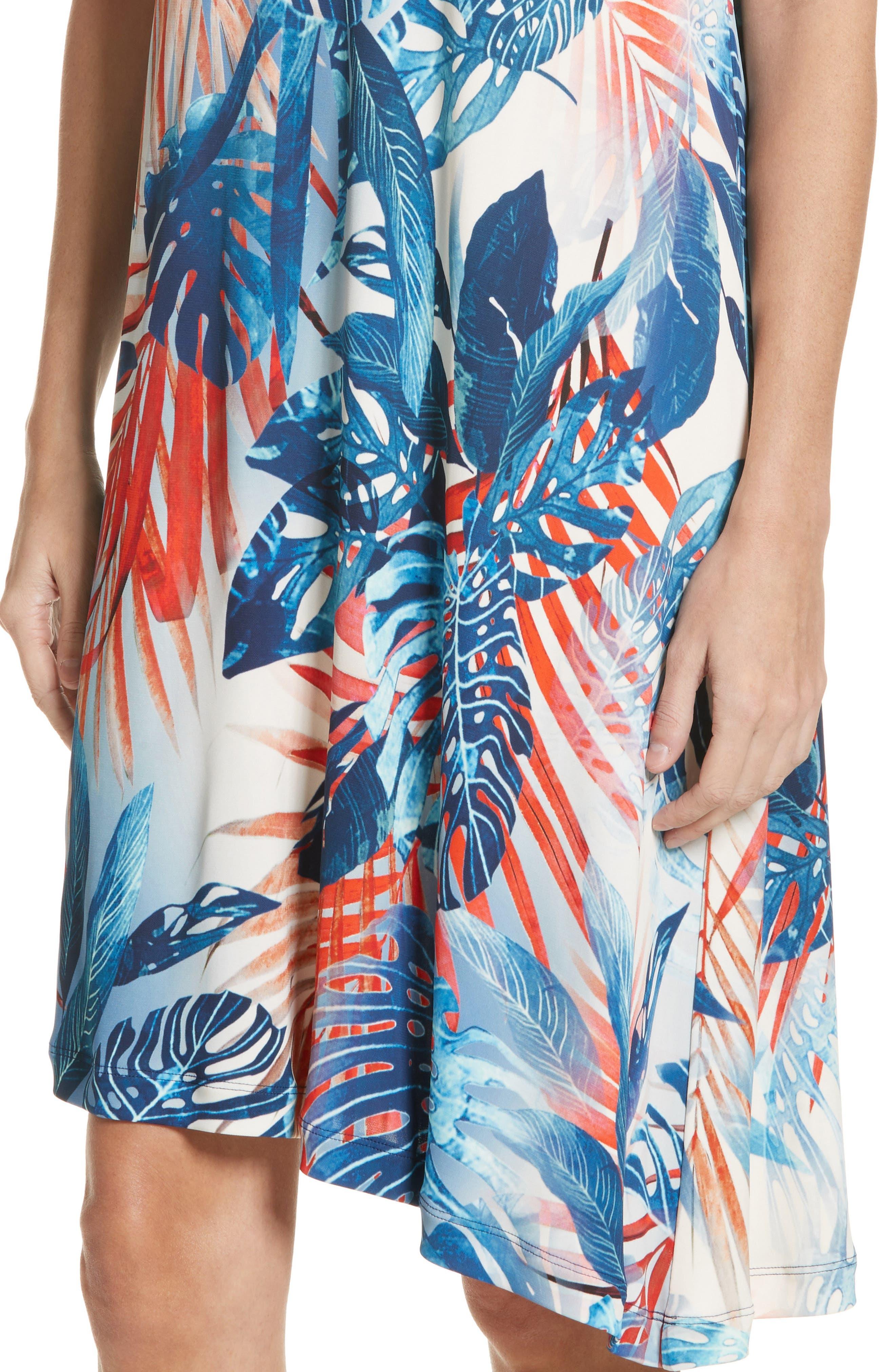 Foliage Print Asymmetrical Short Sleeve Shift Dress,                             Alternate thumbnail 4, color,                             Zaffiro