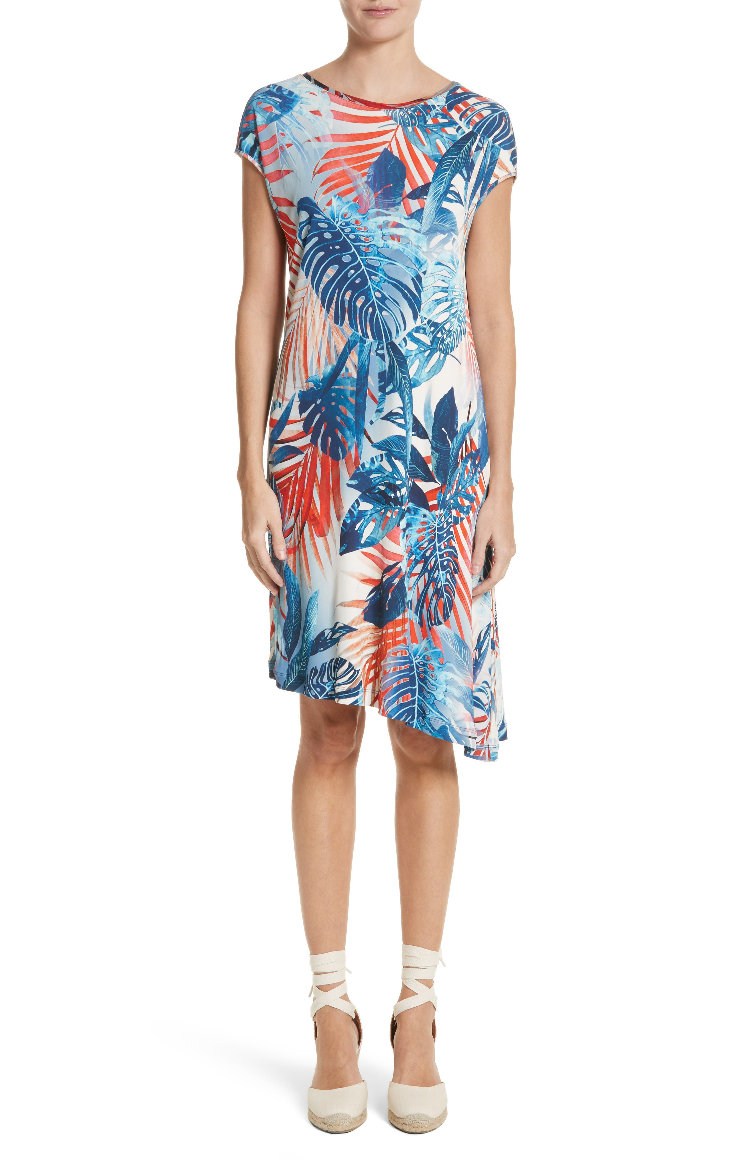 Foliage Print Asymmetrical Short Sleeve Shift Dress,                         Main,                         color, Zaffiro