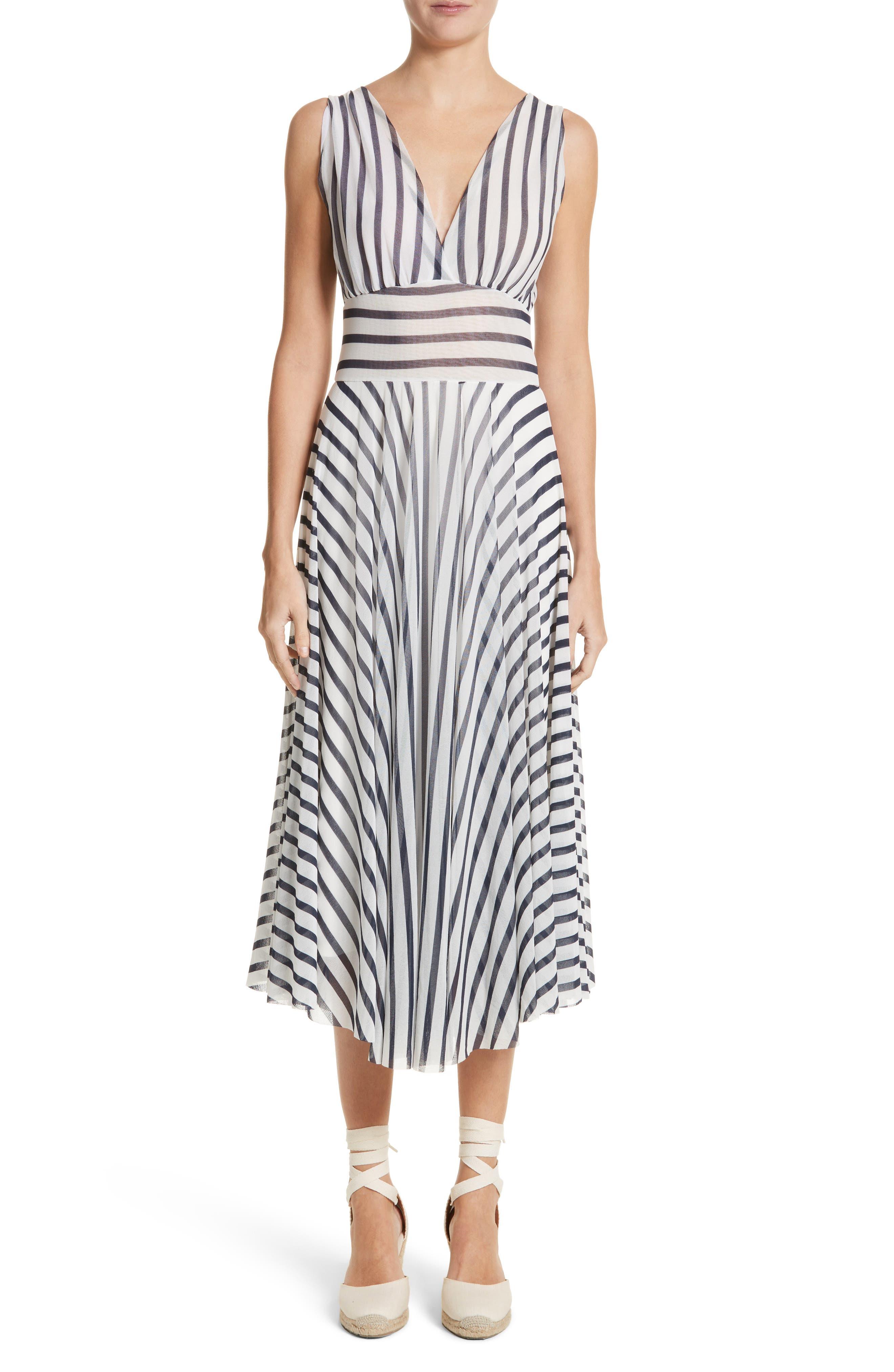 Multistripe Midi Dress,                             Main thumbnail 1, color,                             Cocco