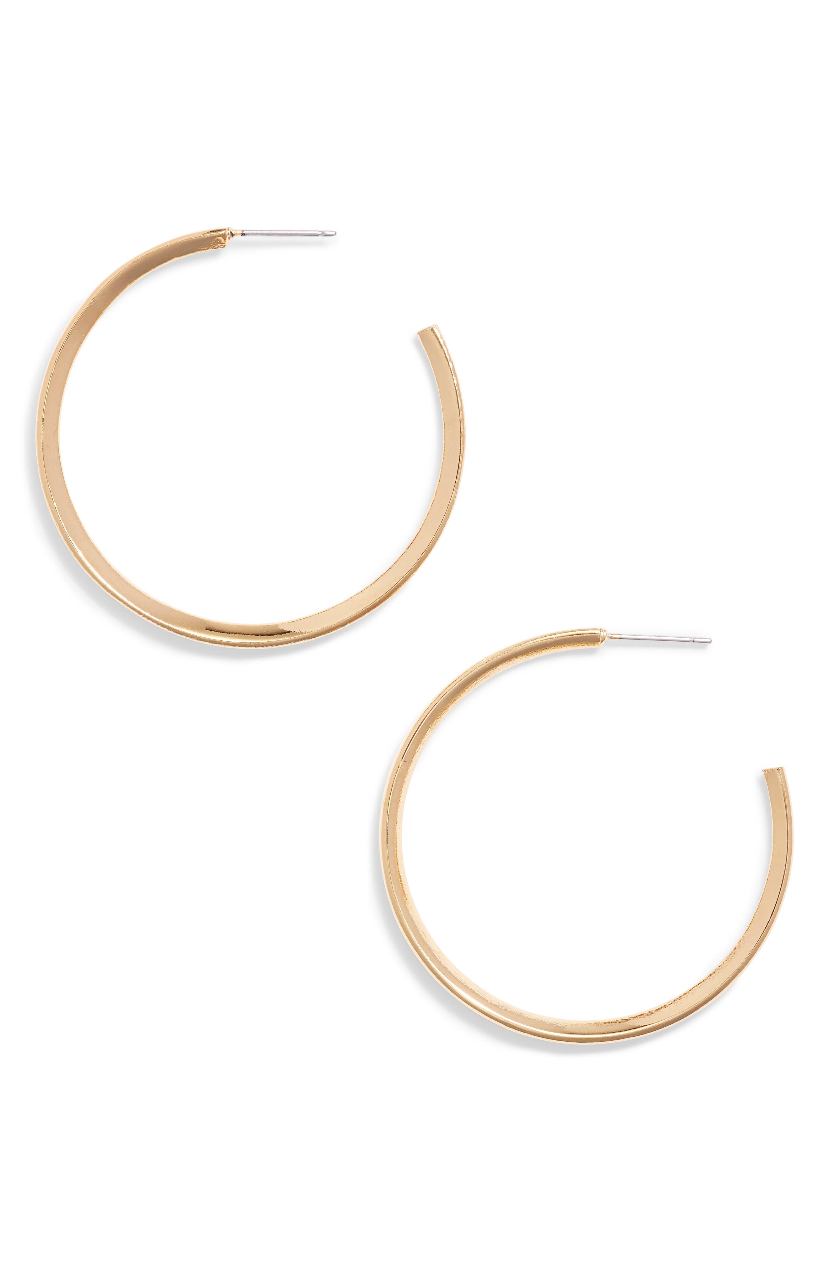Diamond Shaped Hoop Earrings,                             Main thumbnail 1, color,                             Gold