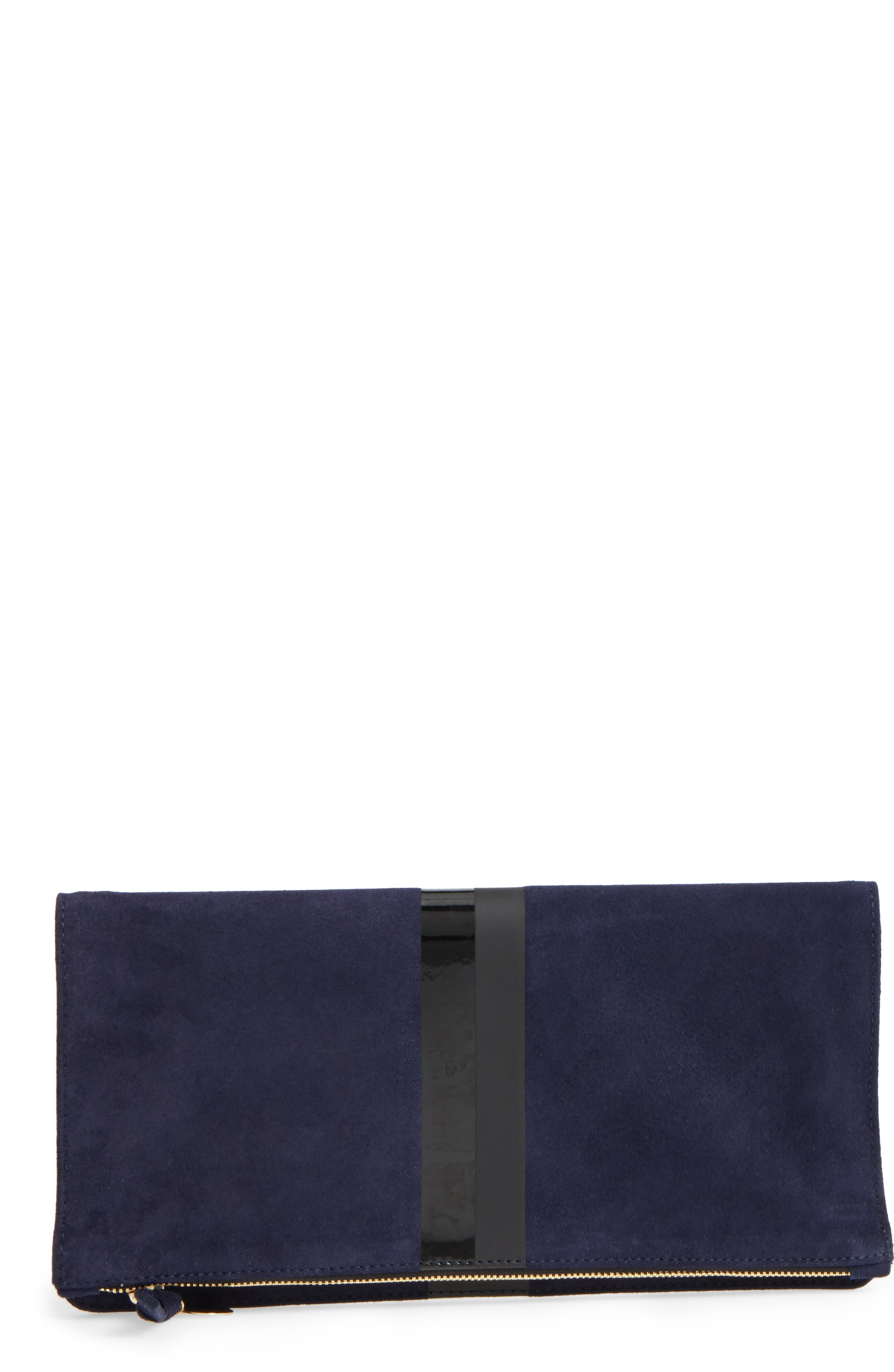 Margot Suede Foldover Clutch,                             Main thumbnail 1, color,                             Navy Suede