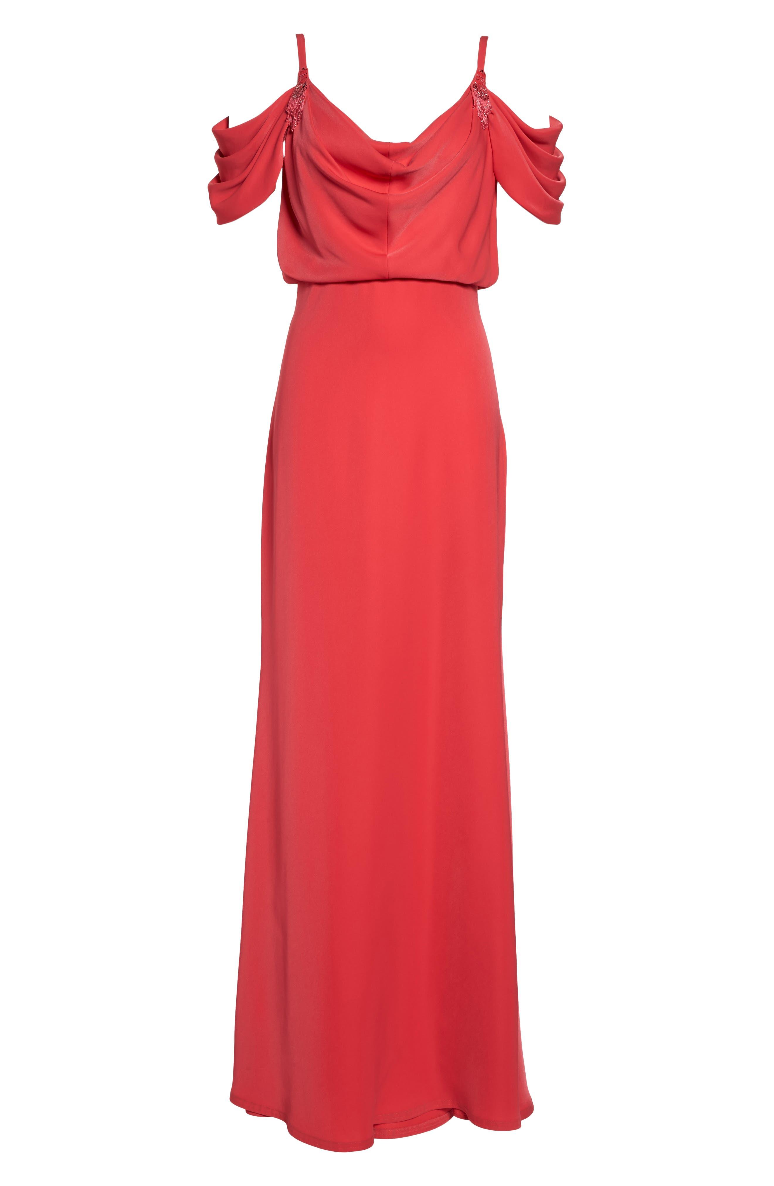 Embellished Cold Shoulder Crepe Gown,                             Alternate thumbnail 6, color,                             Pop Red