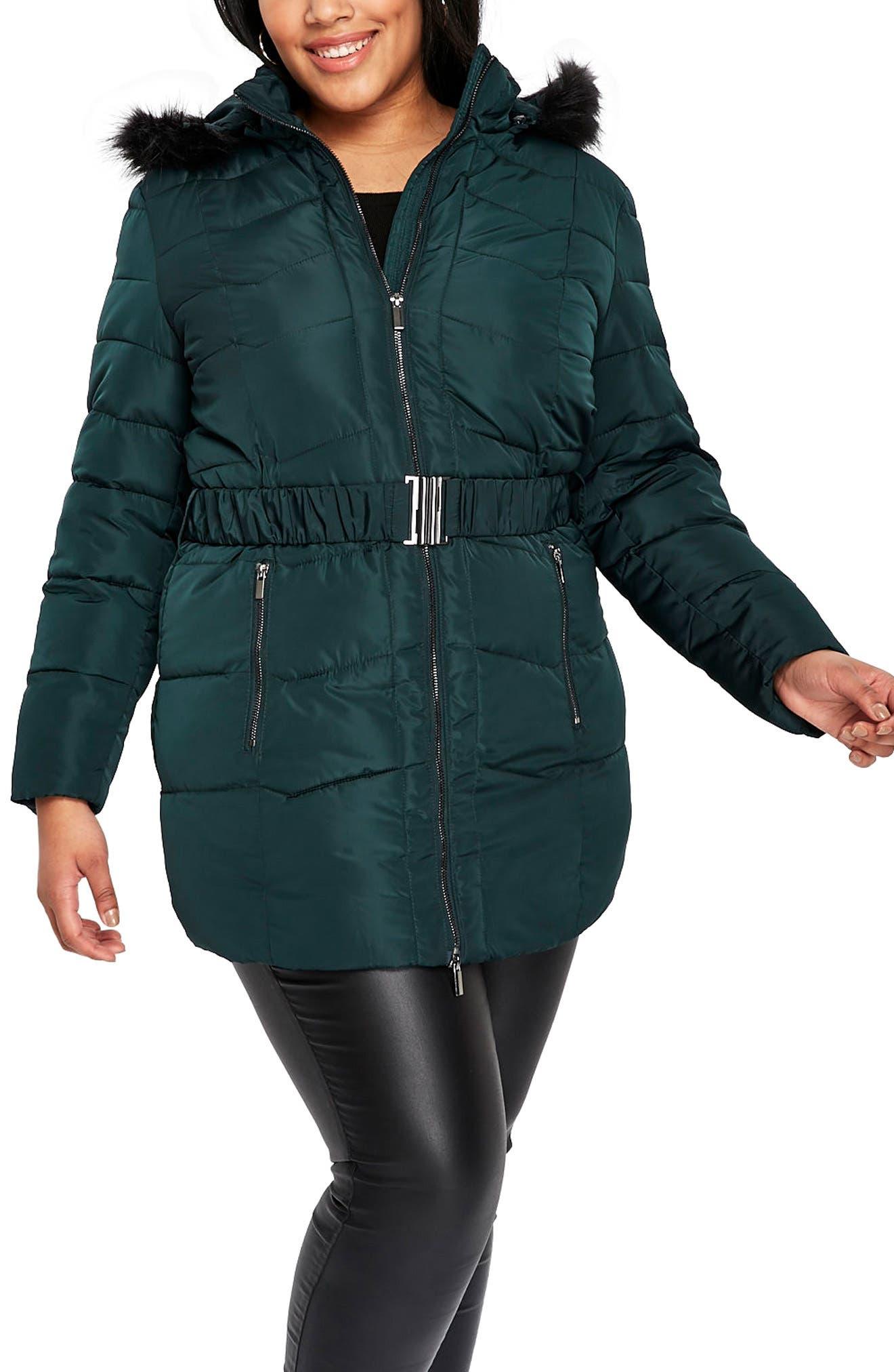 Padded Coat with Faux Fur Trim,                         Main,                         color, Dark Green