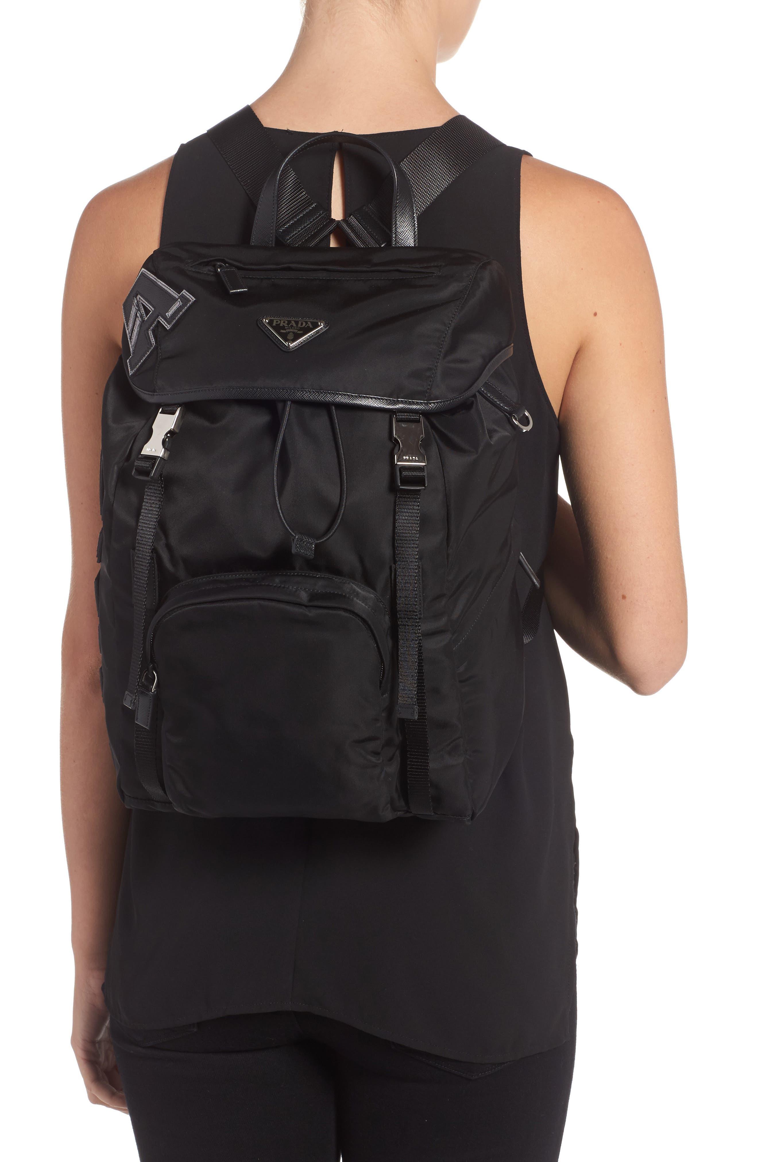 Tessuto Lettering Unisex Nylon Backpack,                             Alternate thumbnail 2, color,                             Nero 1