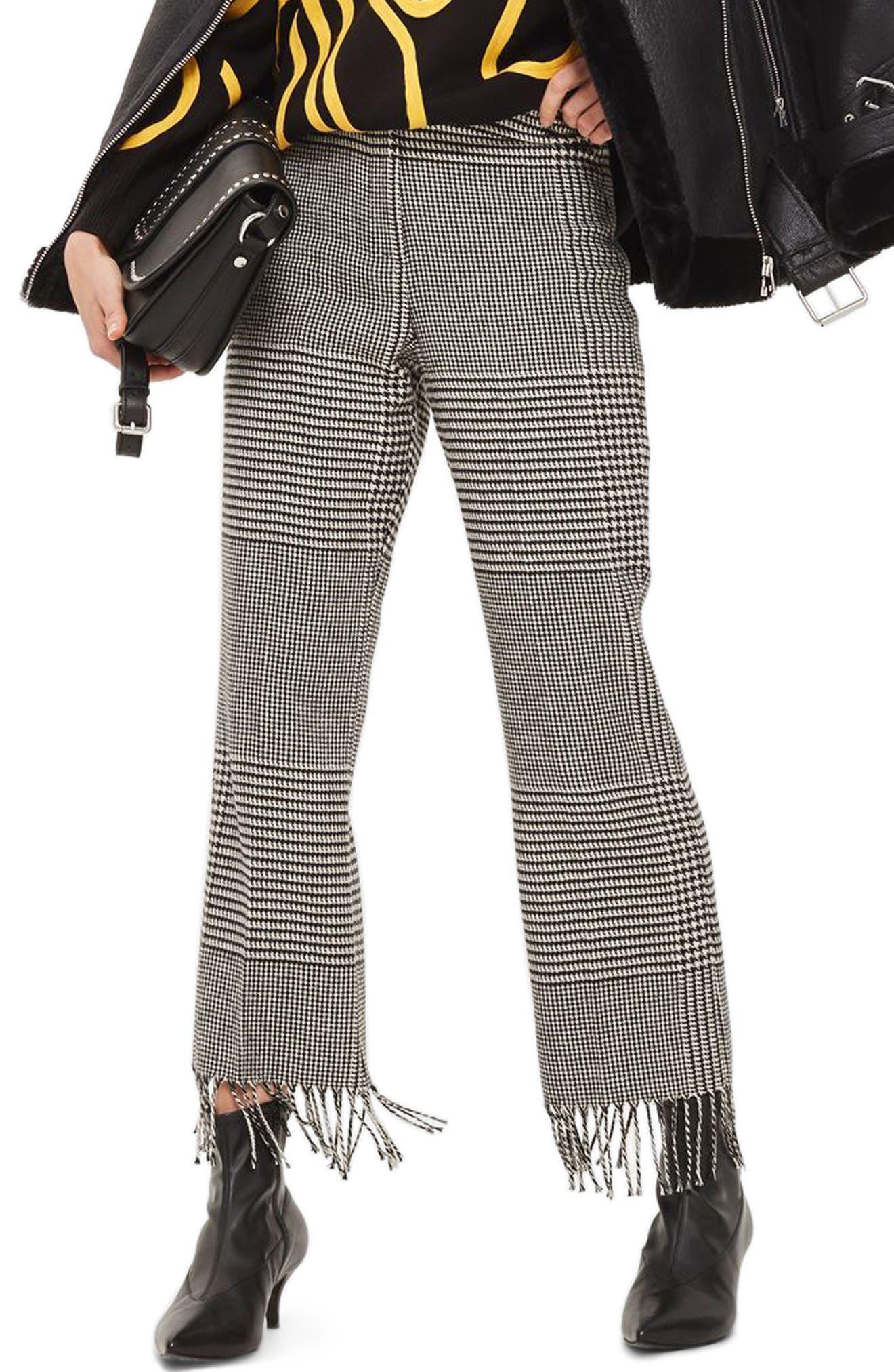 Fringe Hem Check Trousers,                         Main,                         color, Black Multi
