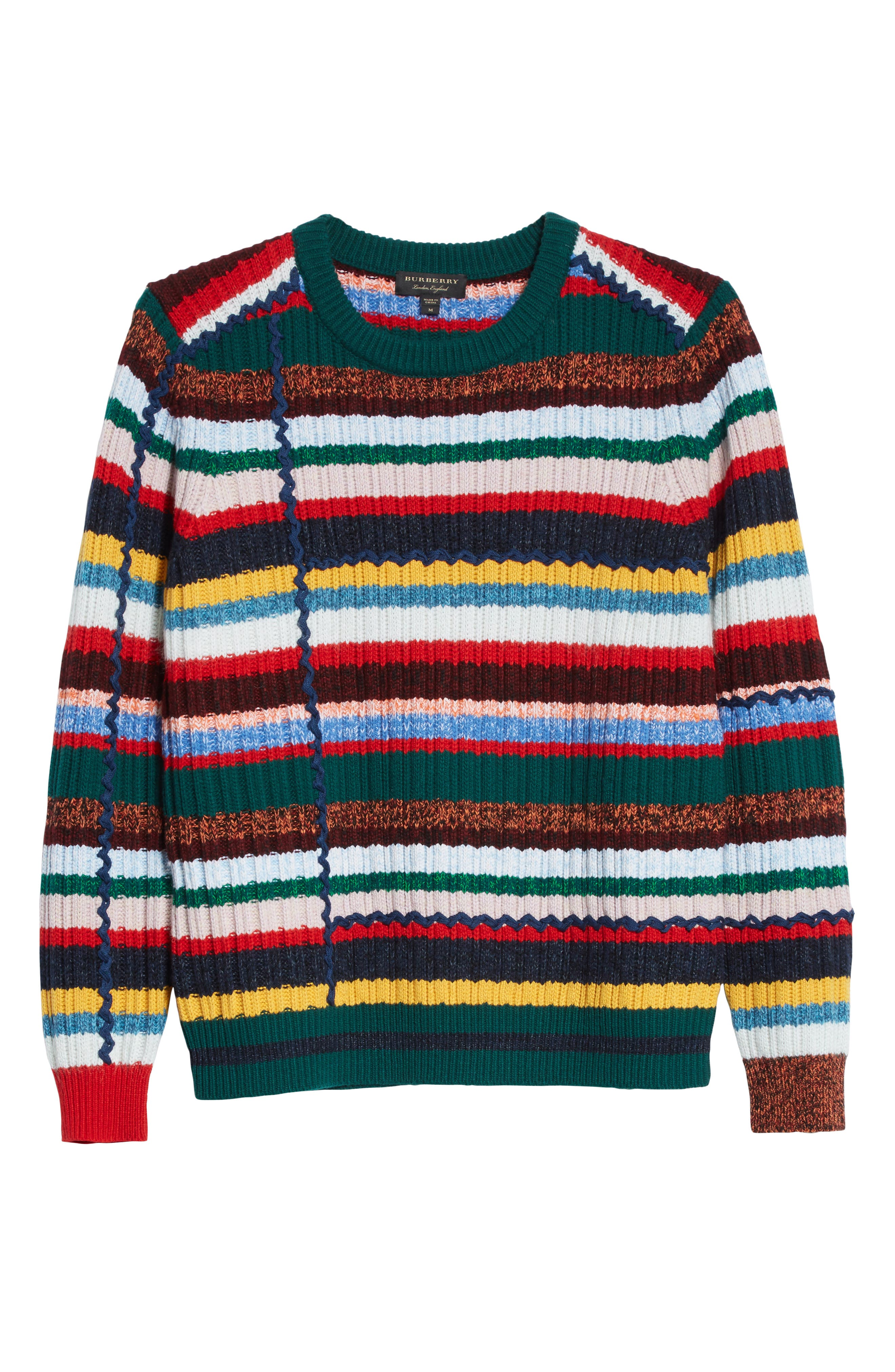 Alternate Image 6  - Burberry Chunky Multicolor Stripe Wool Blend Sweater