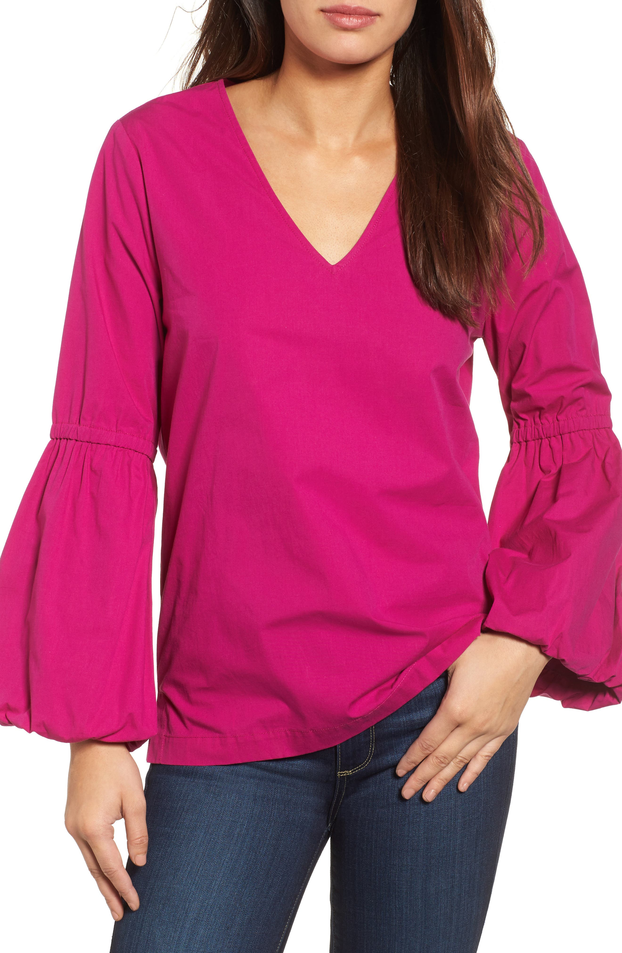 V-Neck Blouson Sleeve Top,                         Main,                         color, Bright Pink