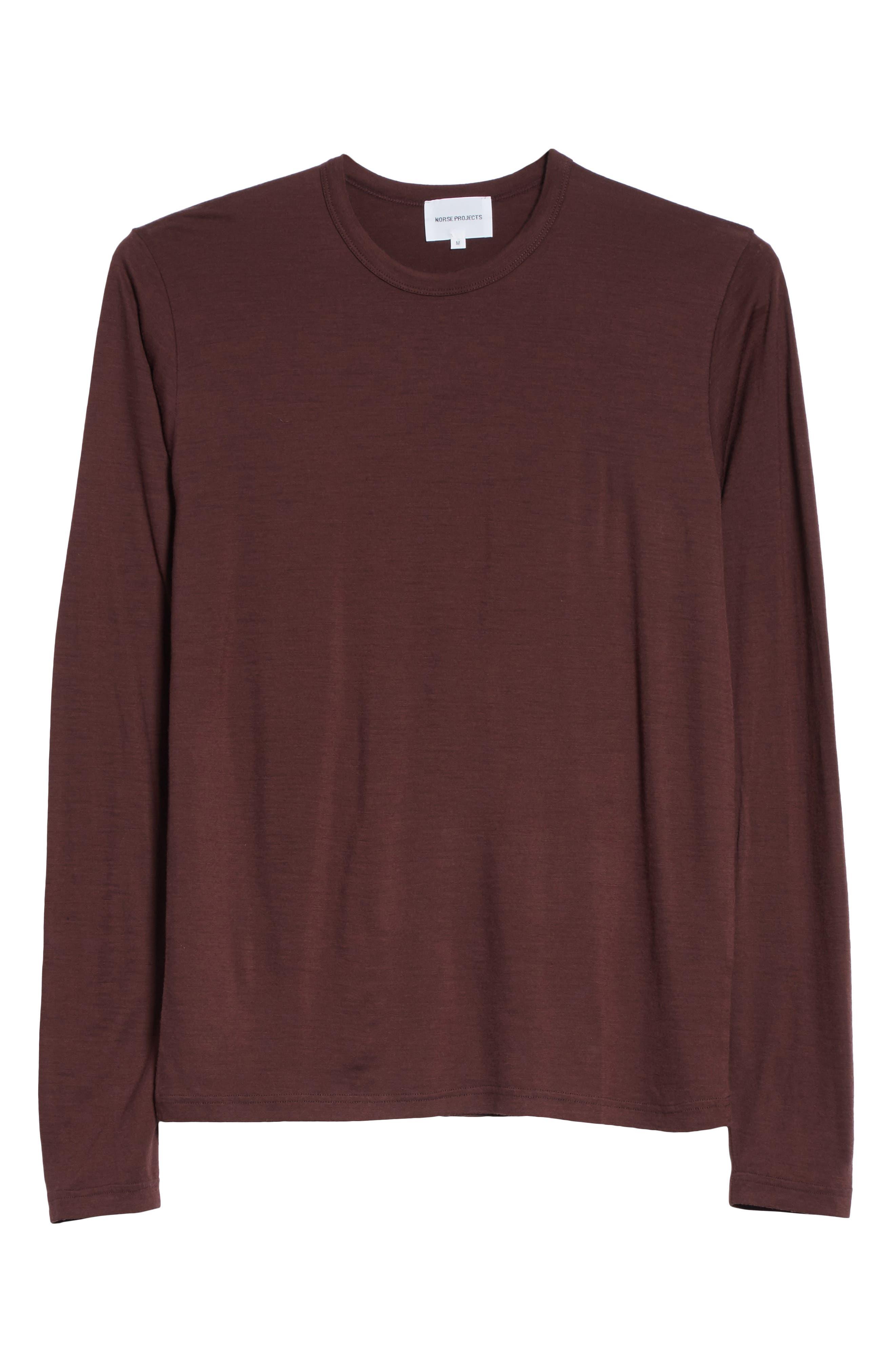 Mercerized Wool Long Sleeve T-Shirt,                             Alternate thumbnail 6, color,                             Hematite Red