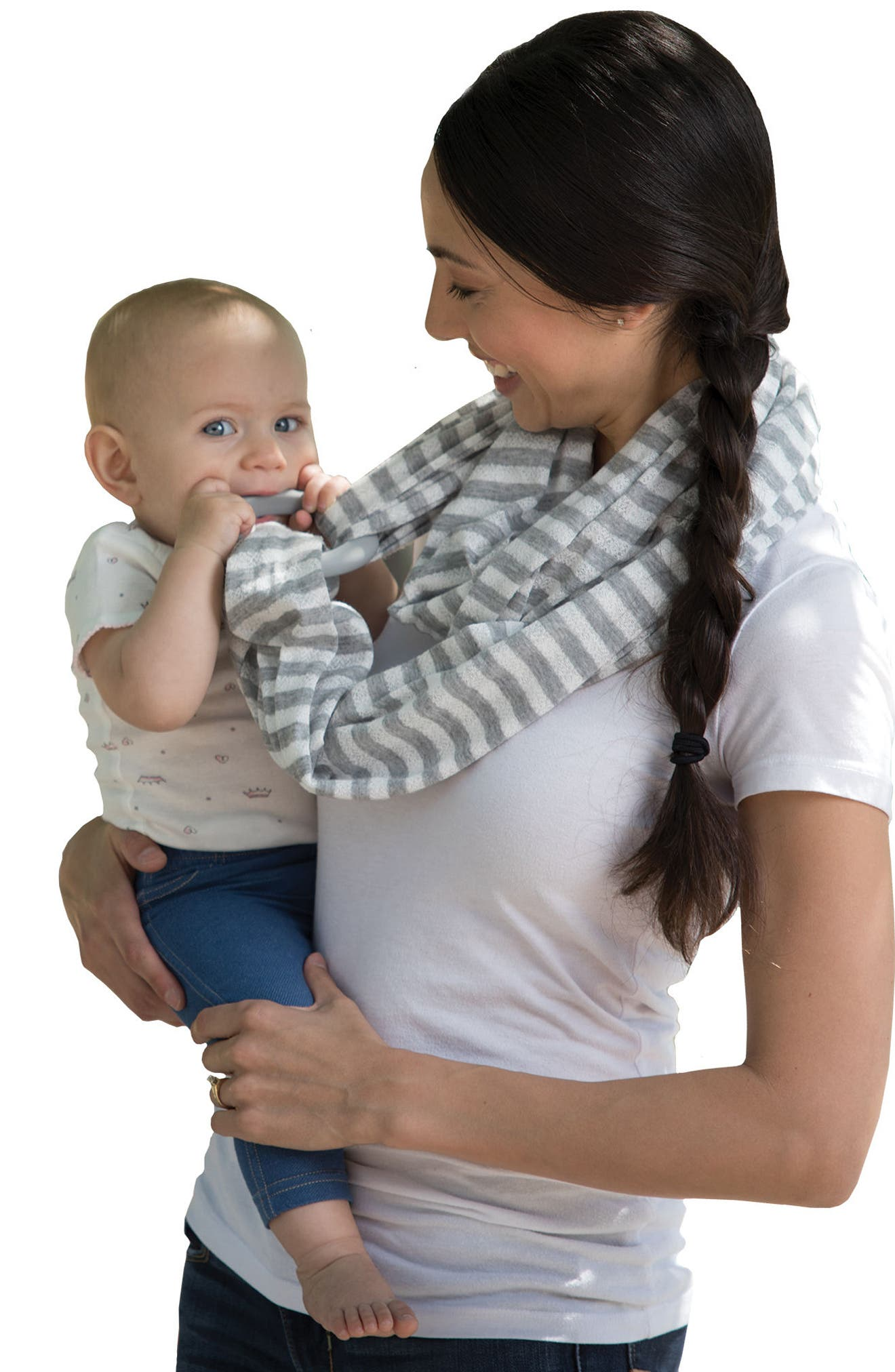Teething Infinity Scarf,                             Alternate thumbnail 7, color,                             Gray And White Stripes