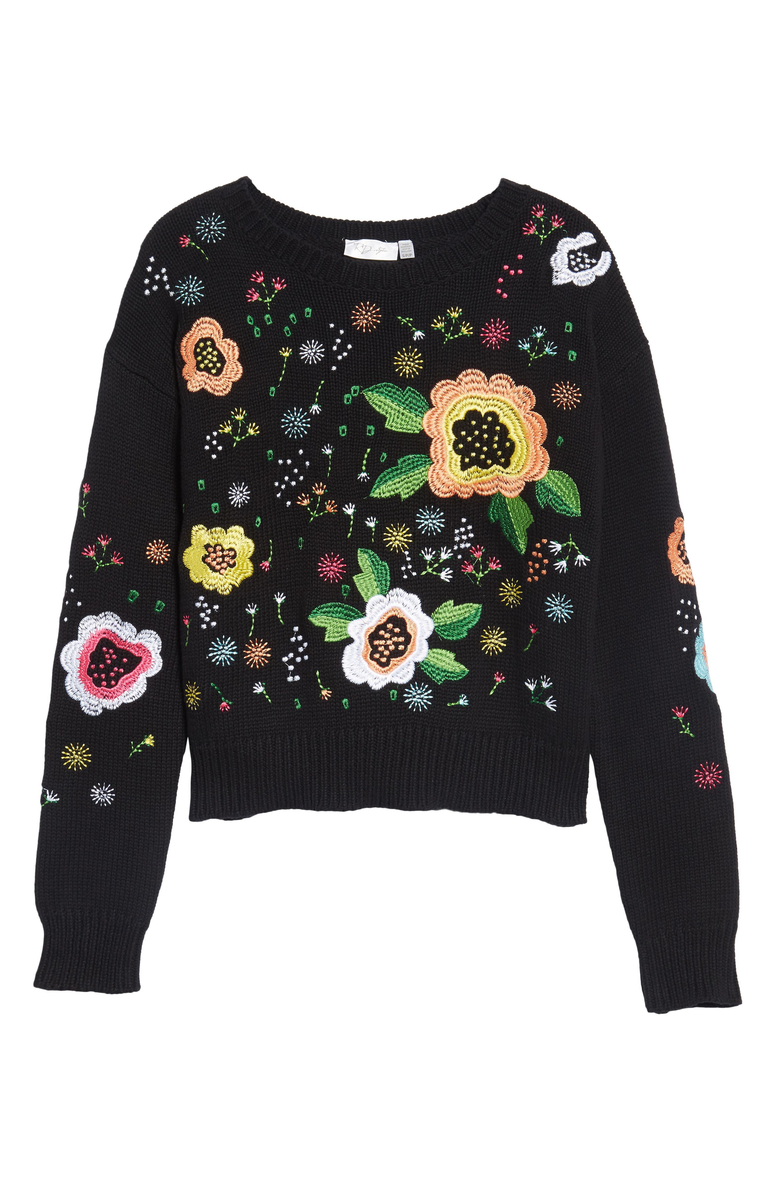 Alternate Image 6  - RDI Floral Embroidered Sweater