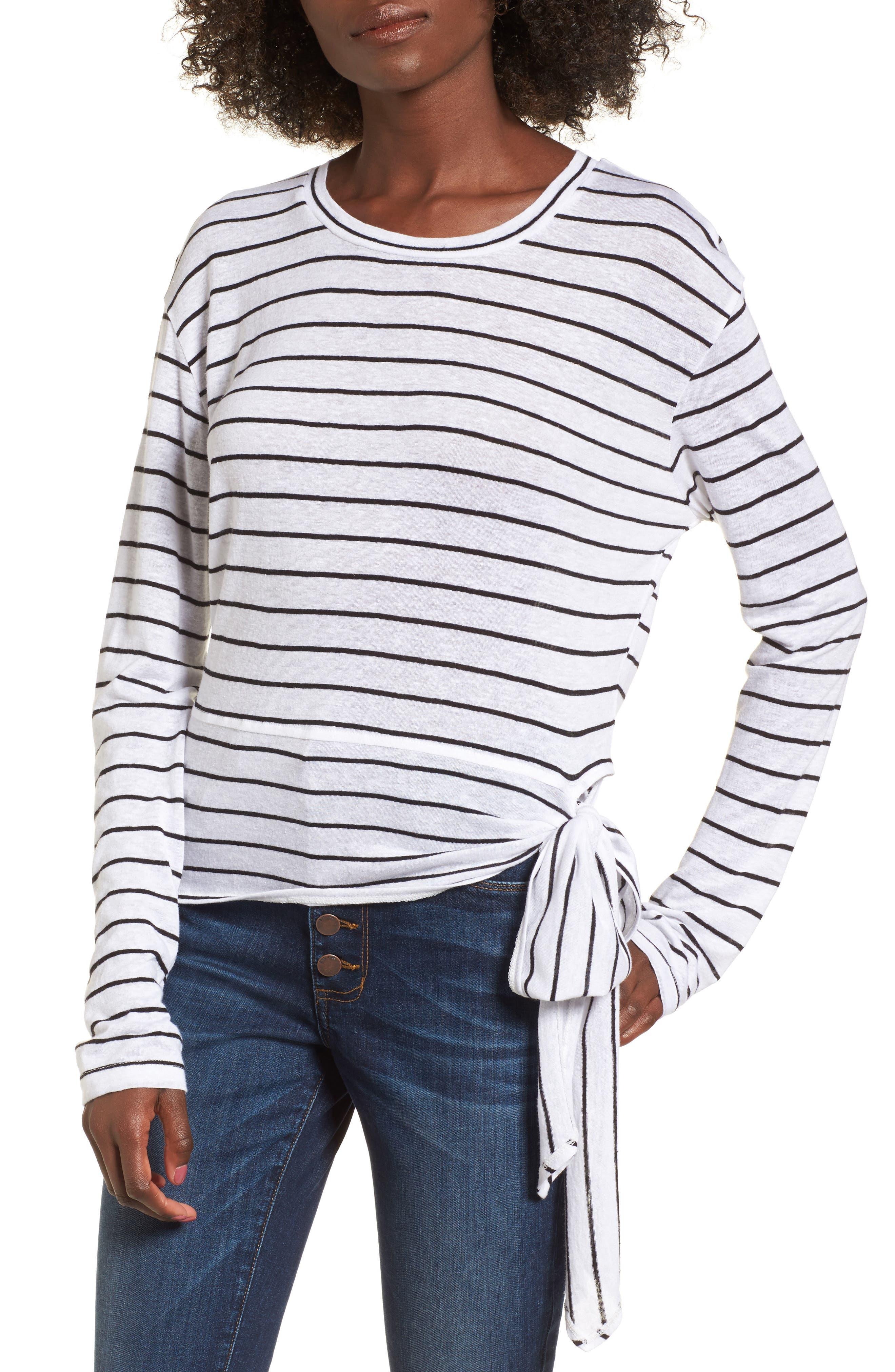 Side Tie Stripe Tee,                         Main,                         color, White Jenna Stripe