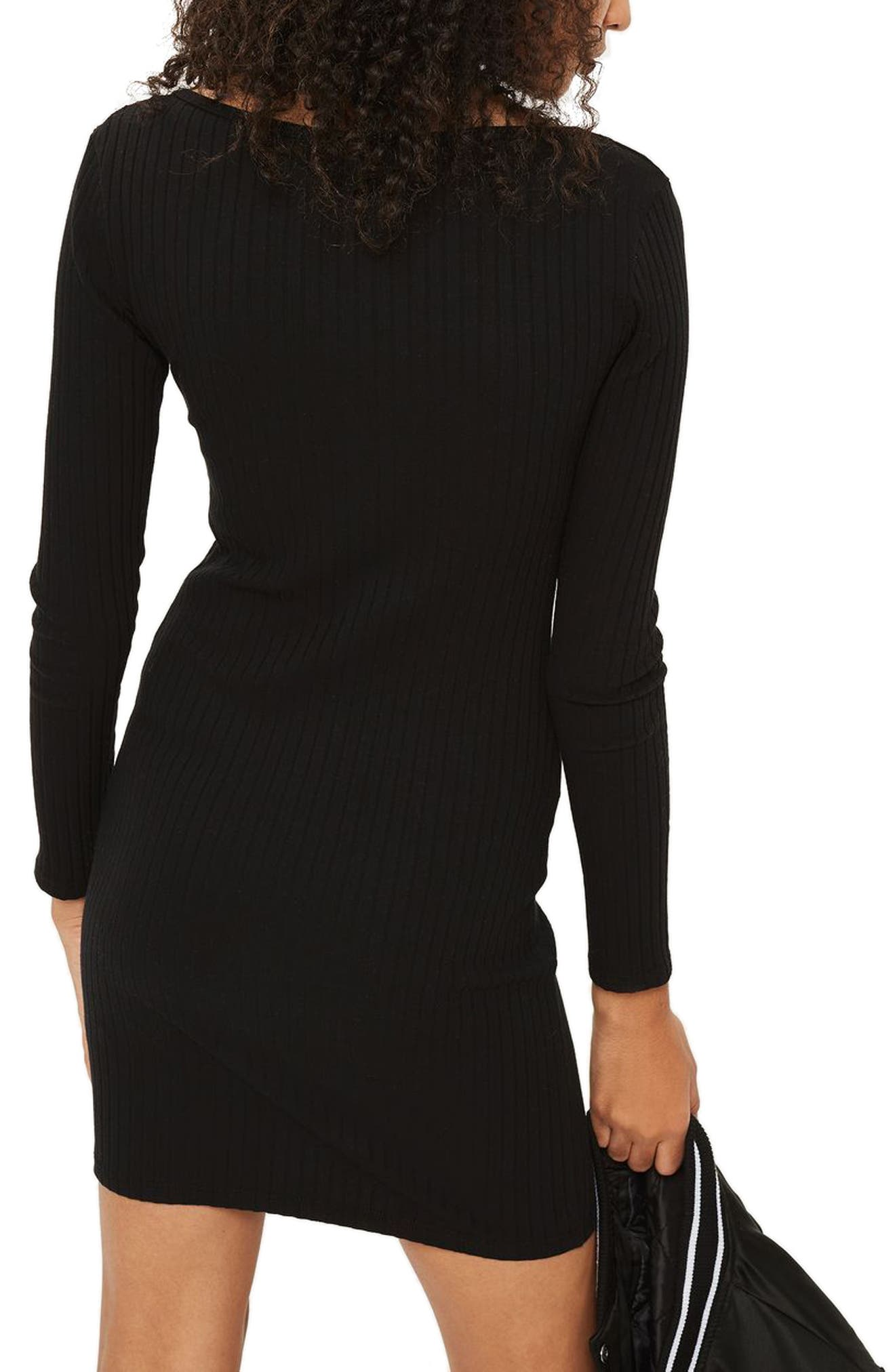 Henley Body-Con Dress,                             Alternate thumbnail 2, color,                             Black