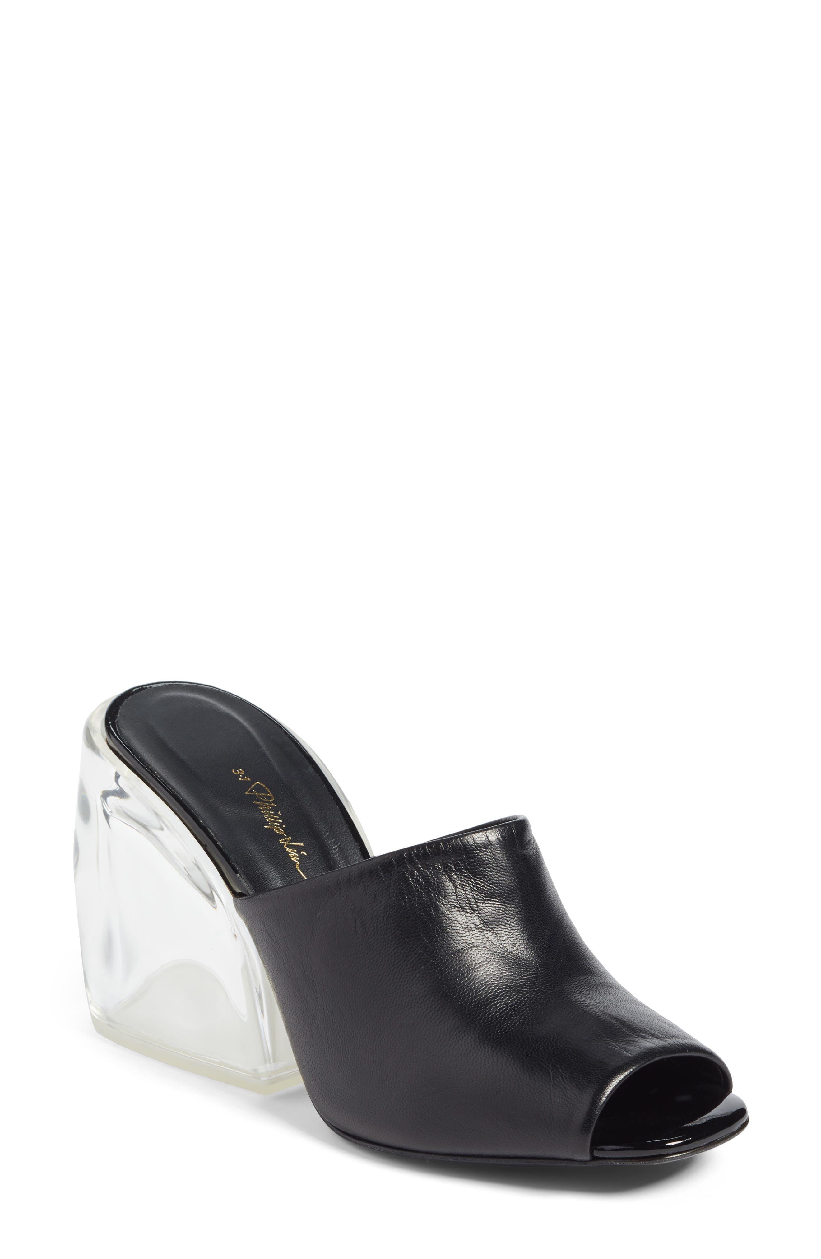 Transparent Wedge Slide Sandal,                             Main thumbnail 1, color,                             Black