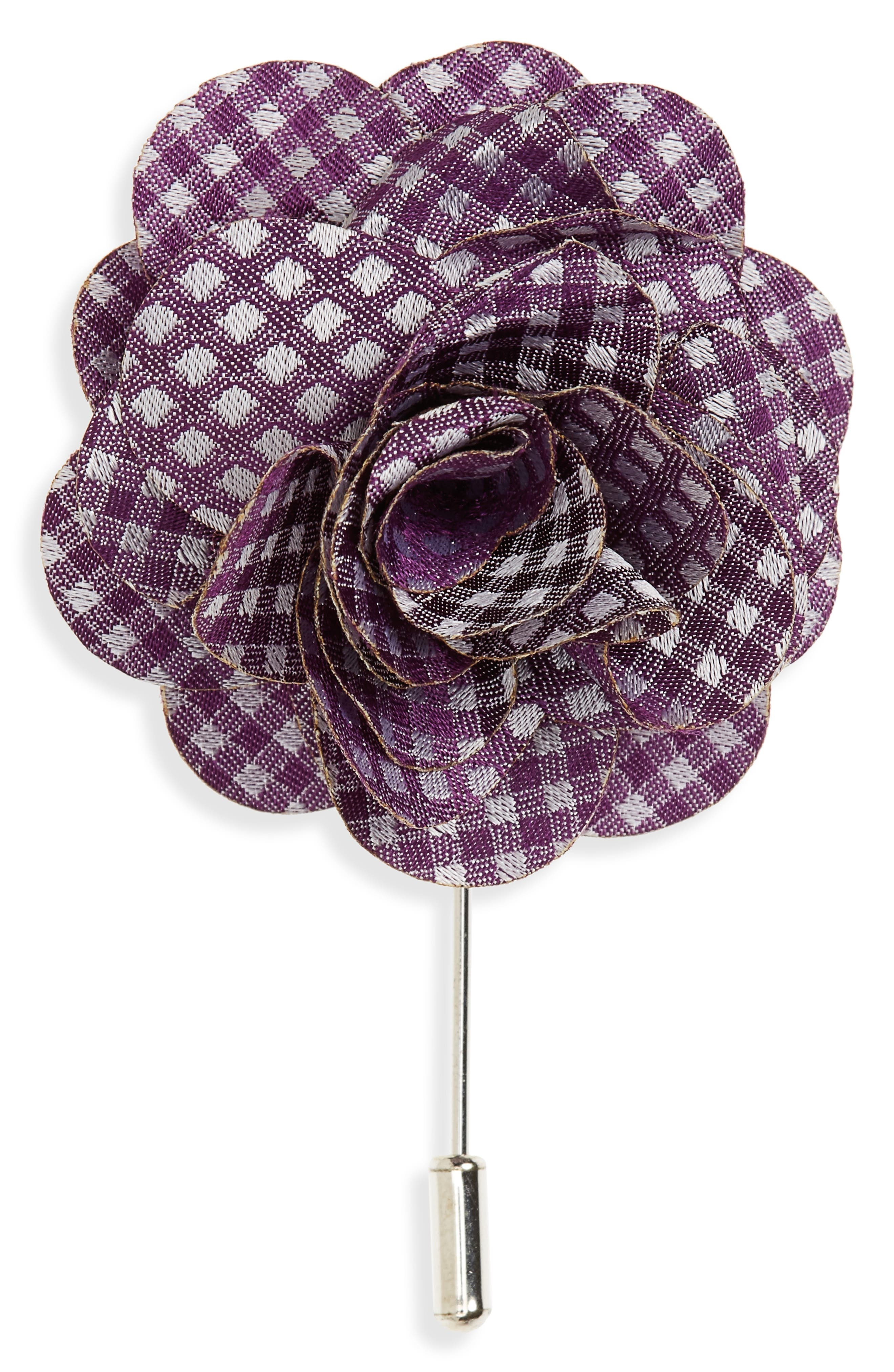 Bahama Checks Silk Lapel Flower,                         Main,                         color, Plum