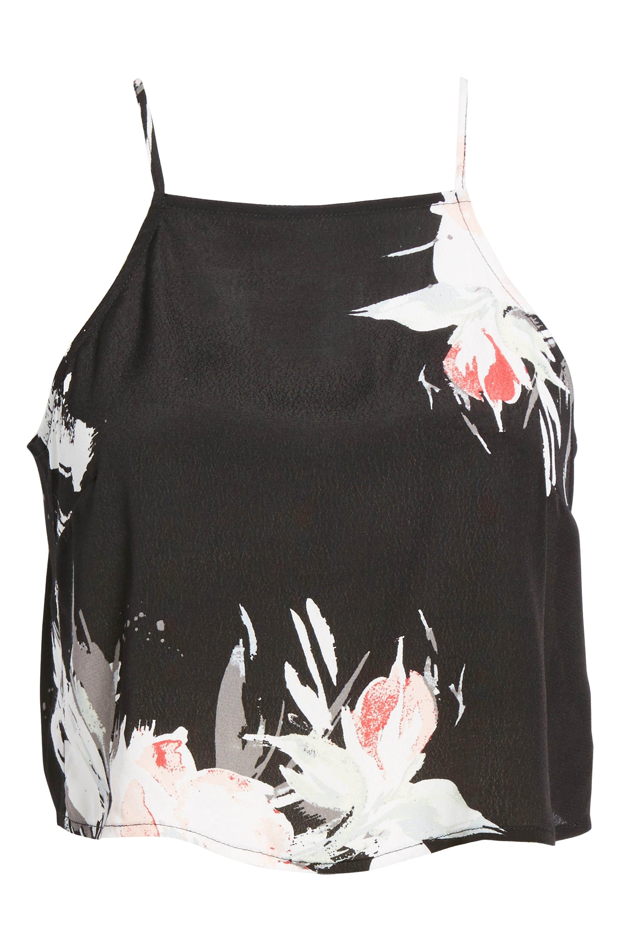 Square Neck Camisole,                             Alternate thumbnail 6, color,                             Black Fierc Edge Floral