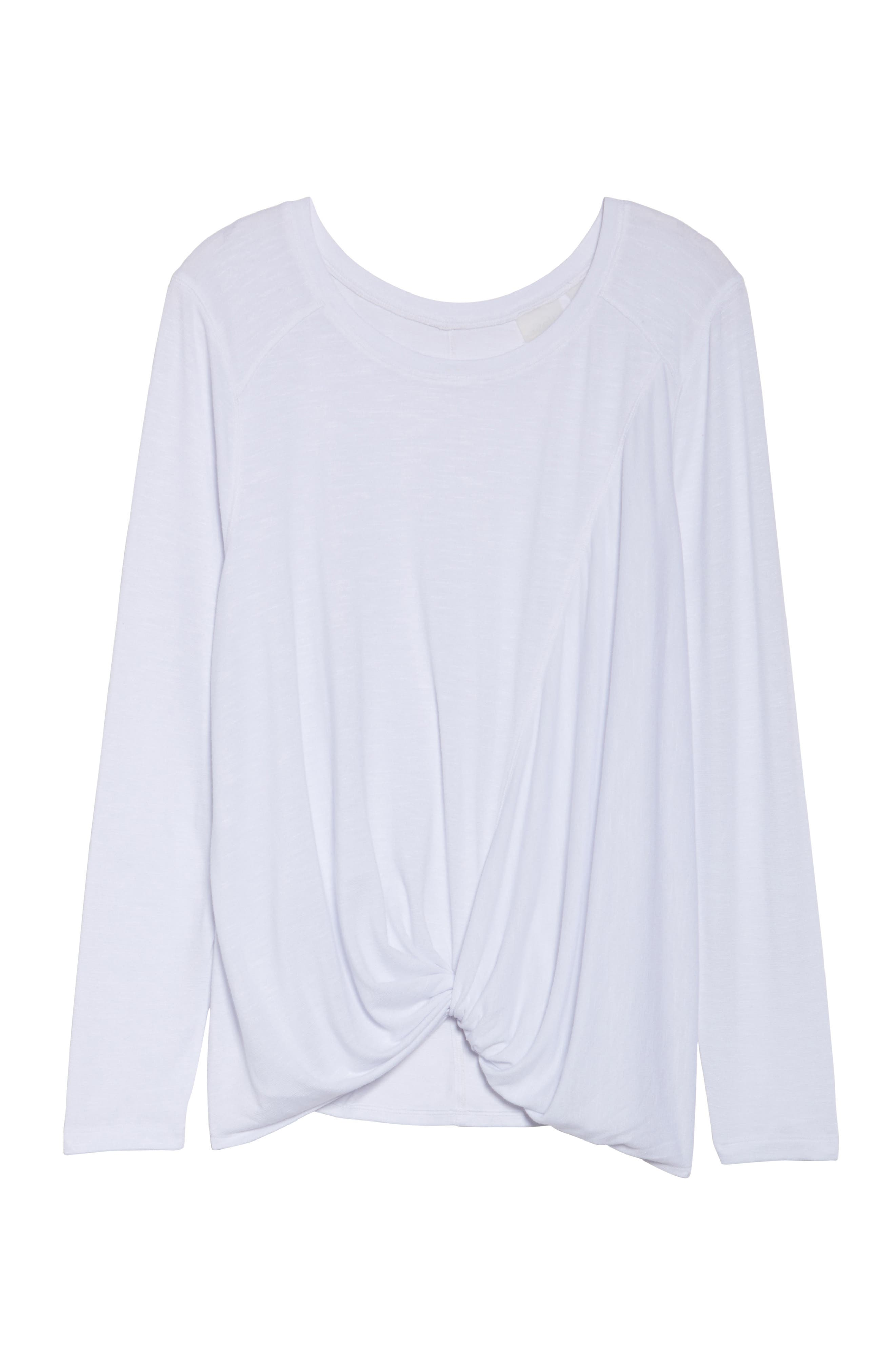 'Twisty Turn' Long Sleeve Tee,                         Main,                         color, White