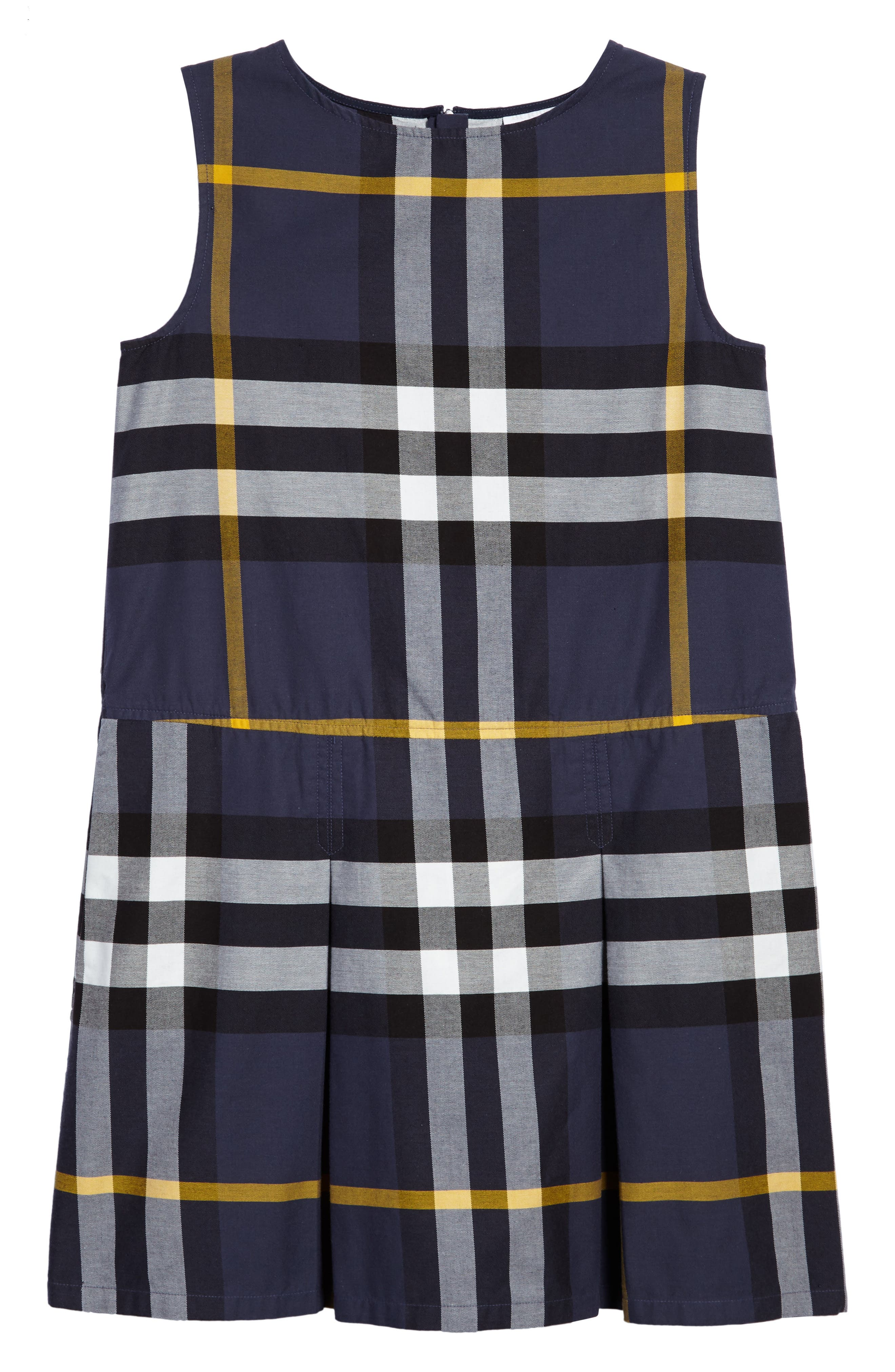 Dawny Check Print Sleeveless Dress,                         Main,                         color, Pale Navy