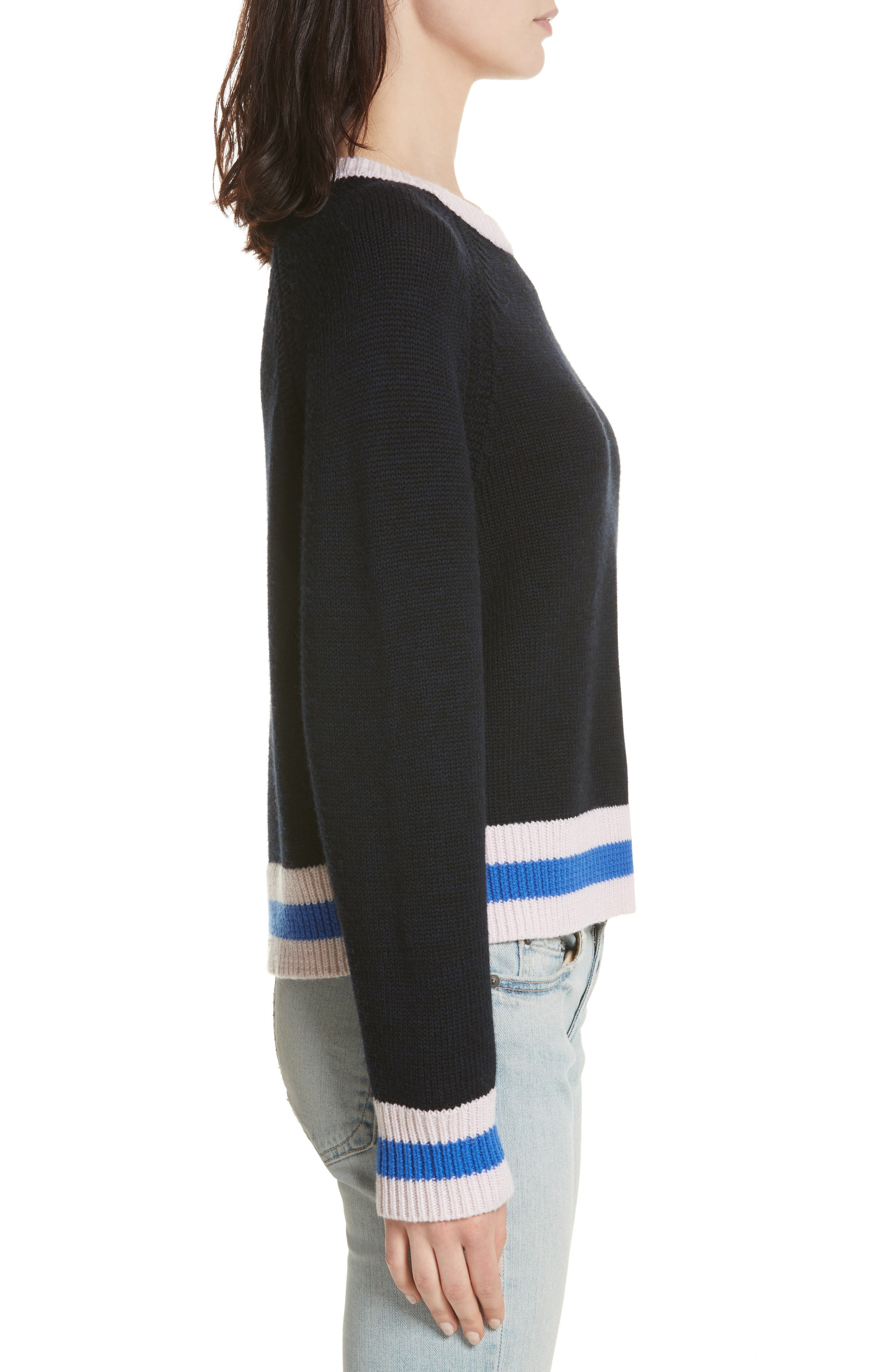 Hattie Crewneck Merino Wool Sweater,                             Alternate thumbnail 3, color,                             Navy