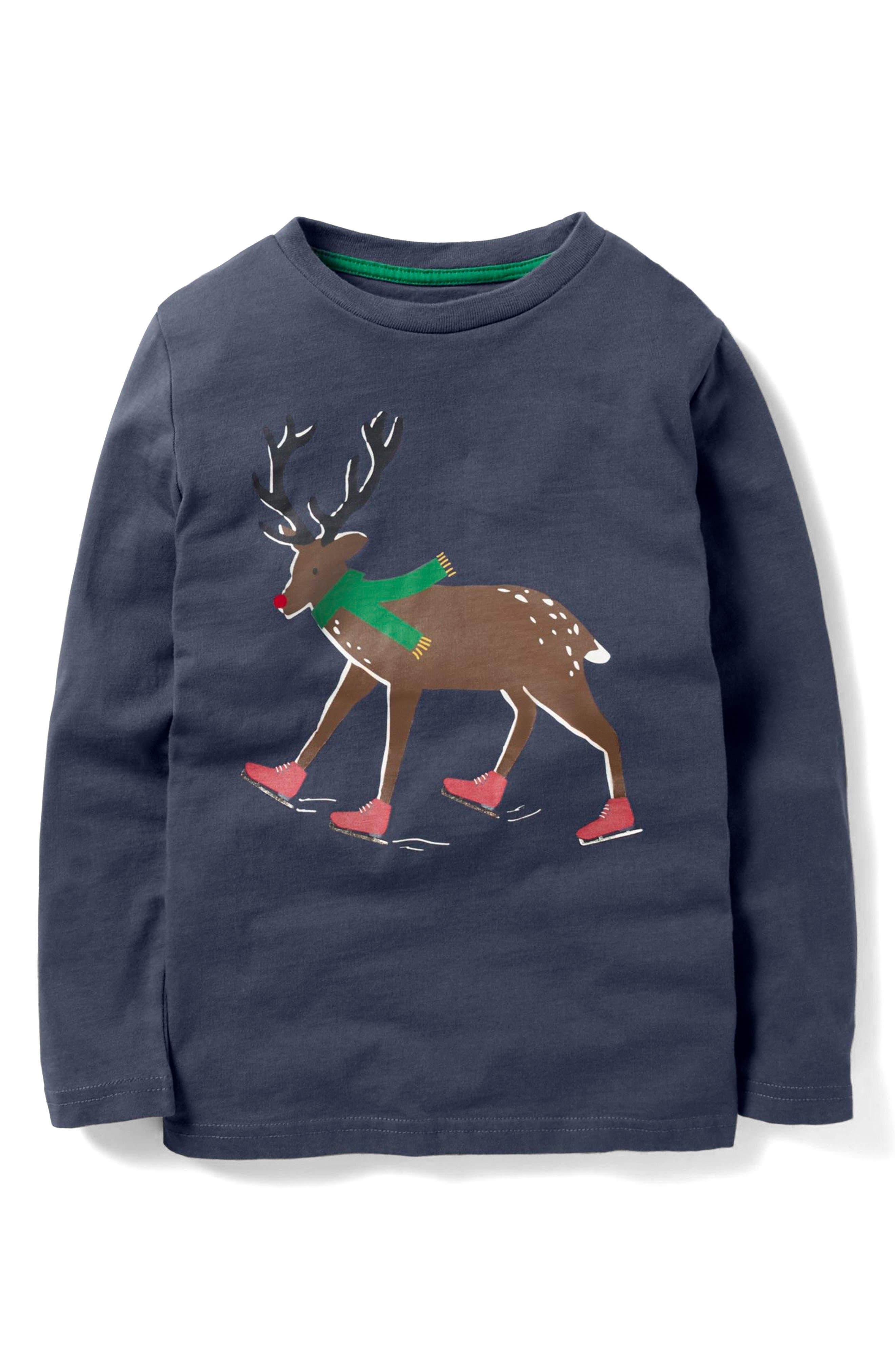 Festive Adventurer Long Sleeve T-Shirt,                         Main,                         color, Meteorite Grey Reindeer