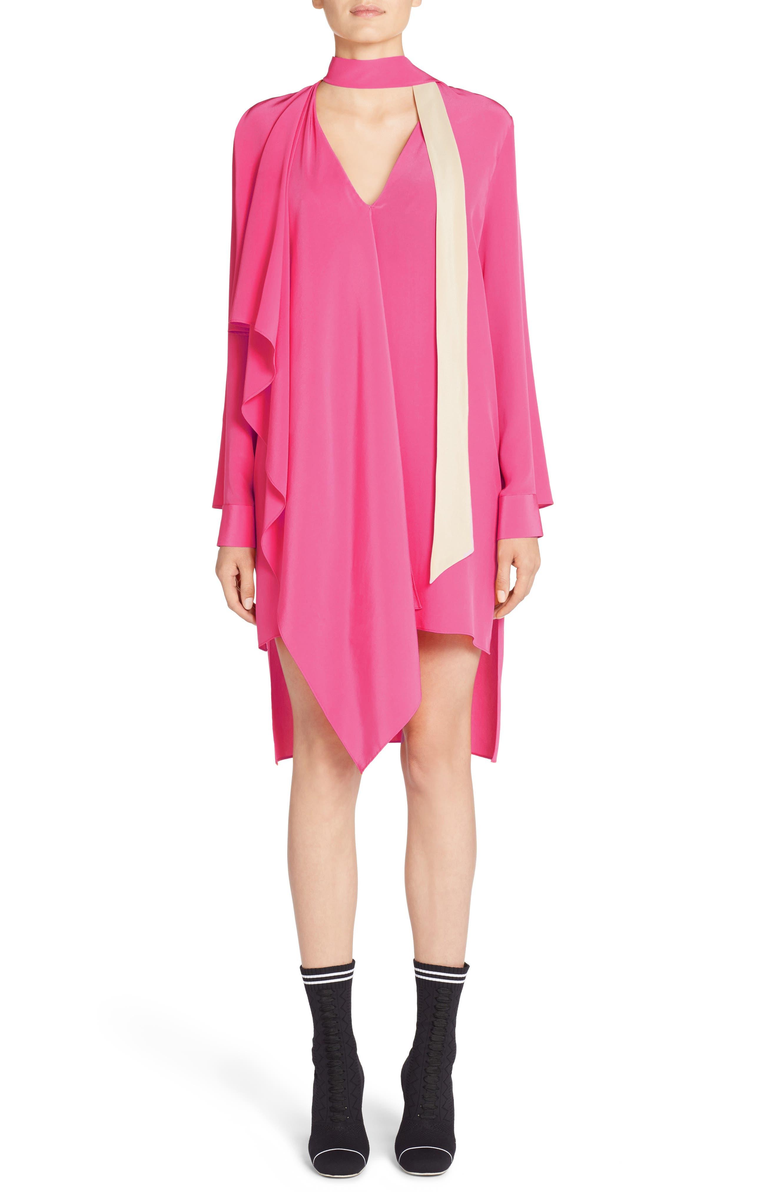 Drape Silk Crêpe de Chine Dress,                         Main,                         color, Glamour Pink