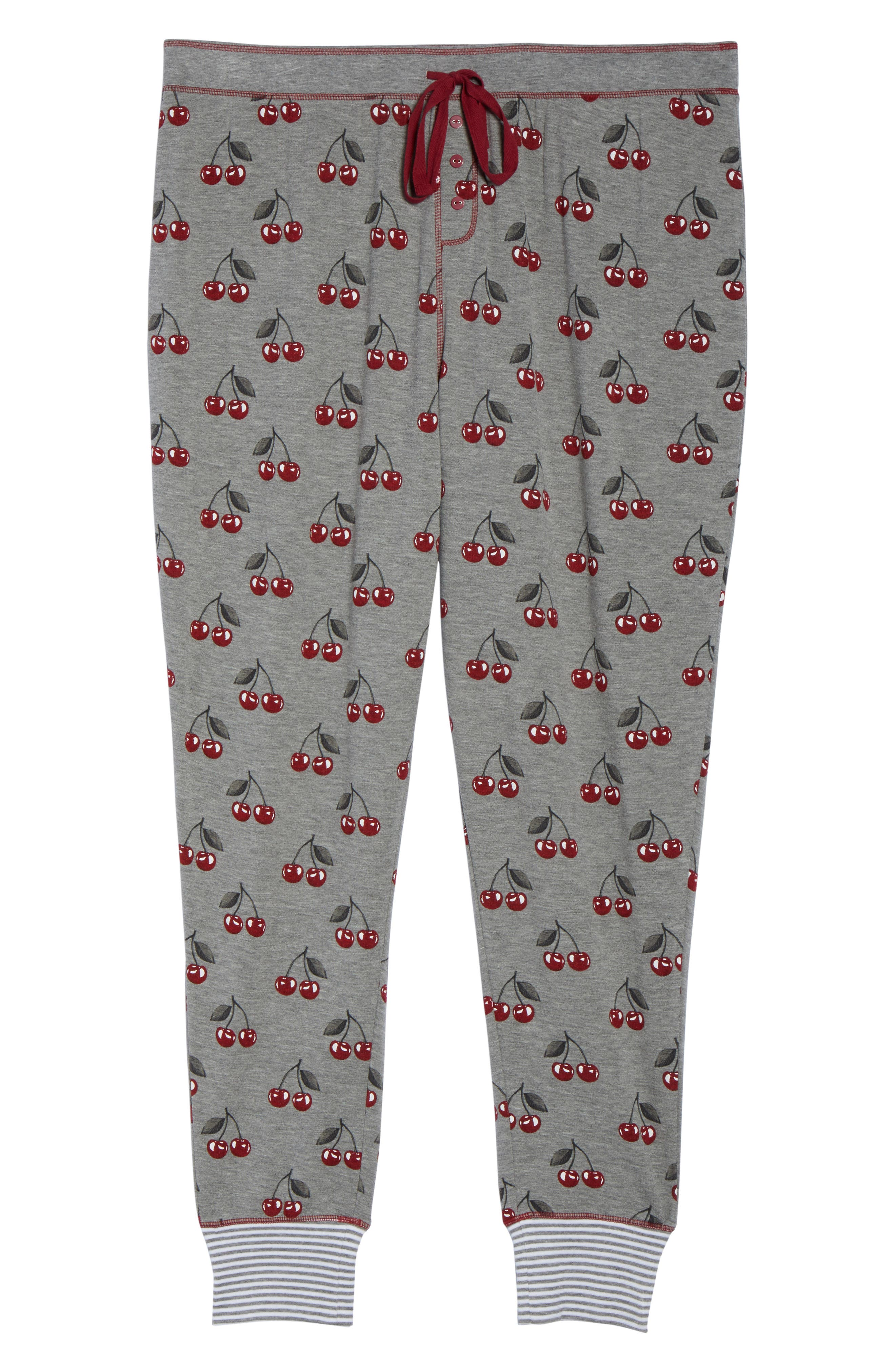 Cherry Pajama Pants,                             Alternate thumbnail 4, color,                             Heather Grey