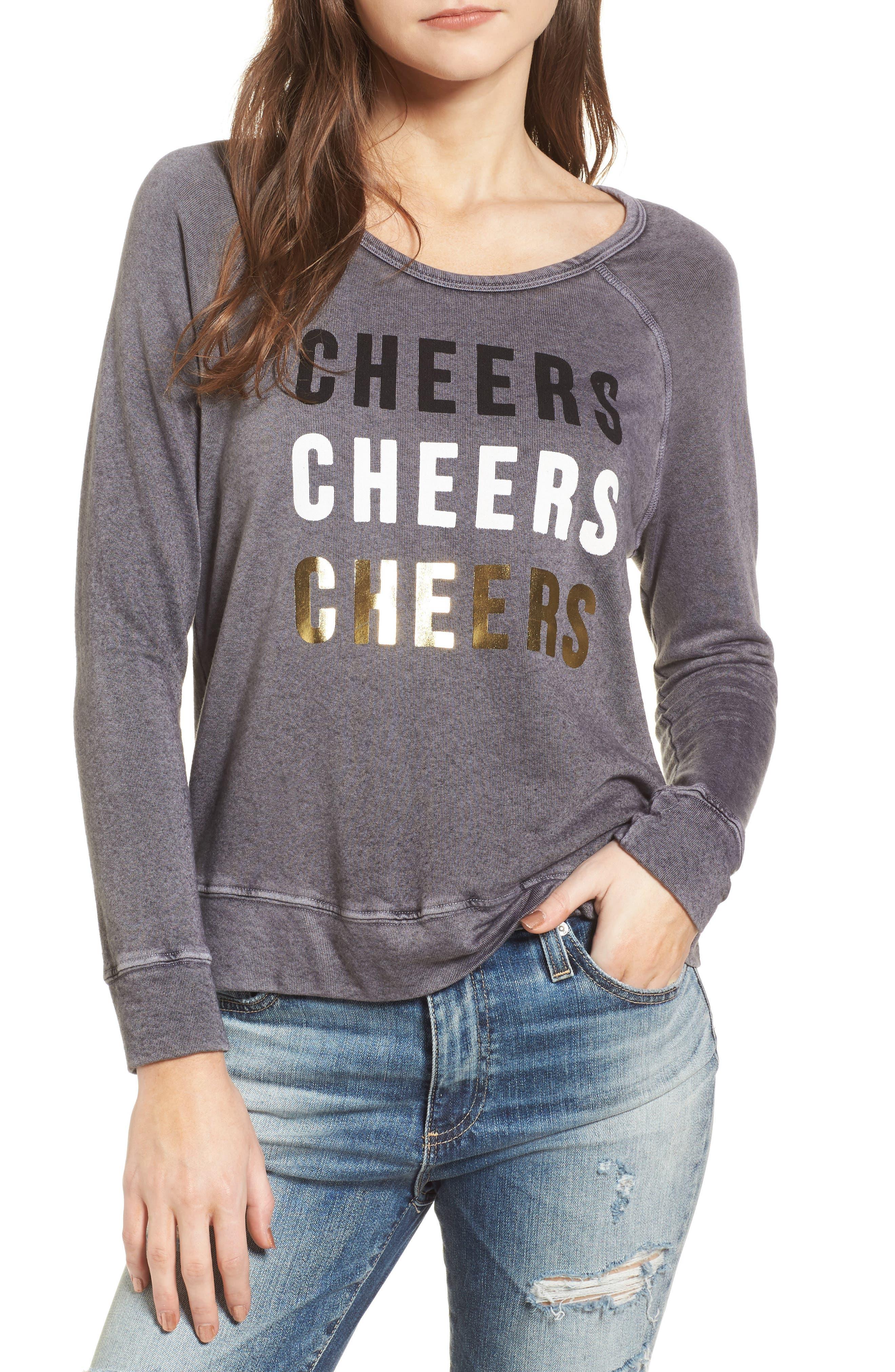Cheers Sweatshirt,                         Main,                         color, Vintage Black