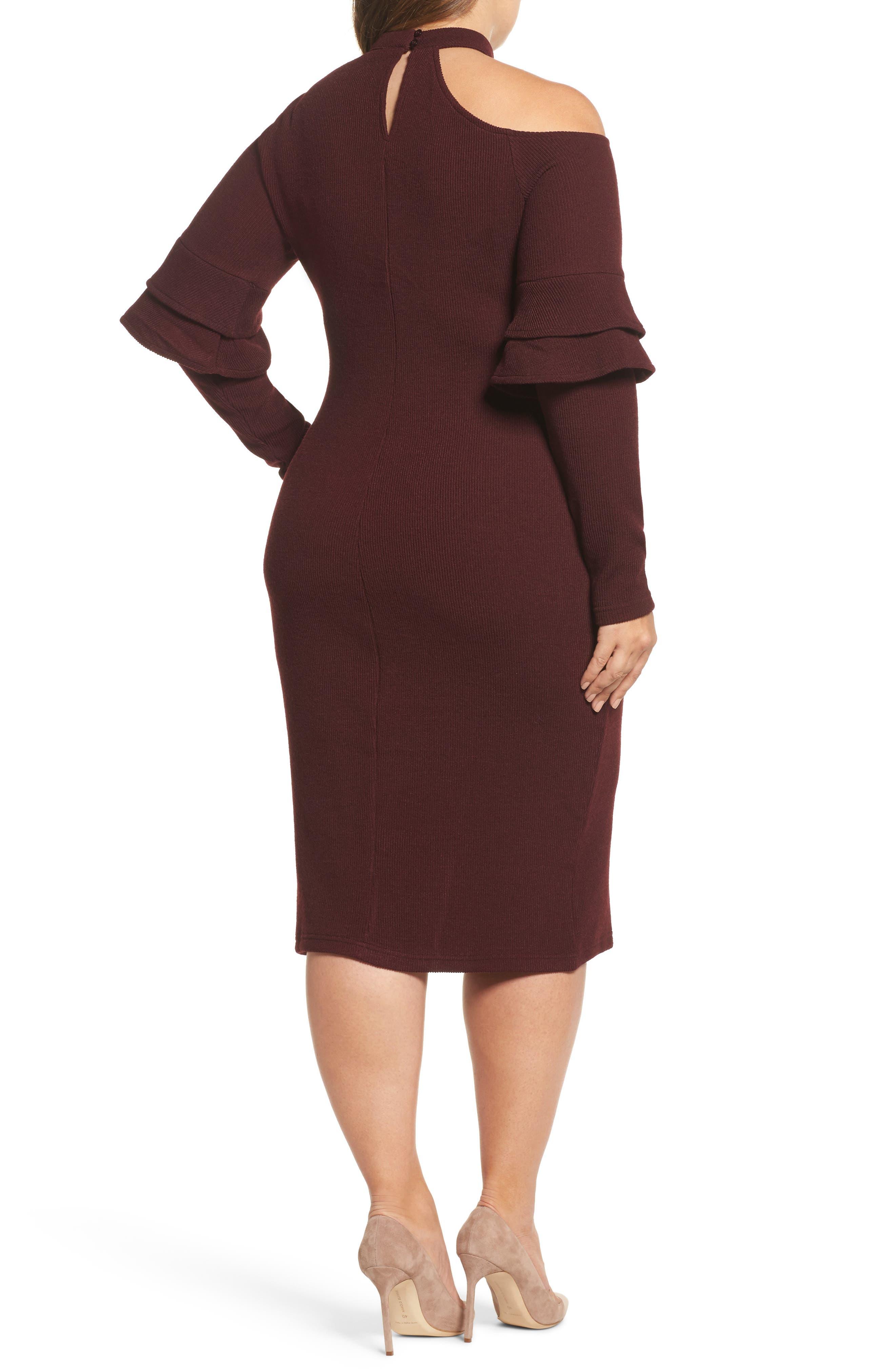 Alternate Image 2  - LOST INK Shoulder Cutout Knit Dress (Plus Size)