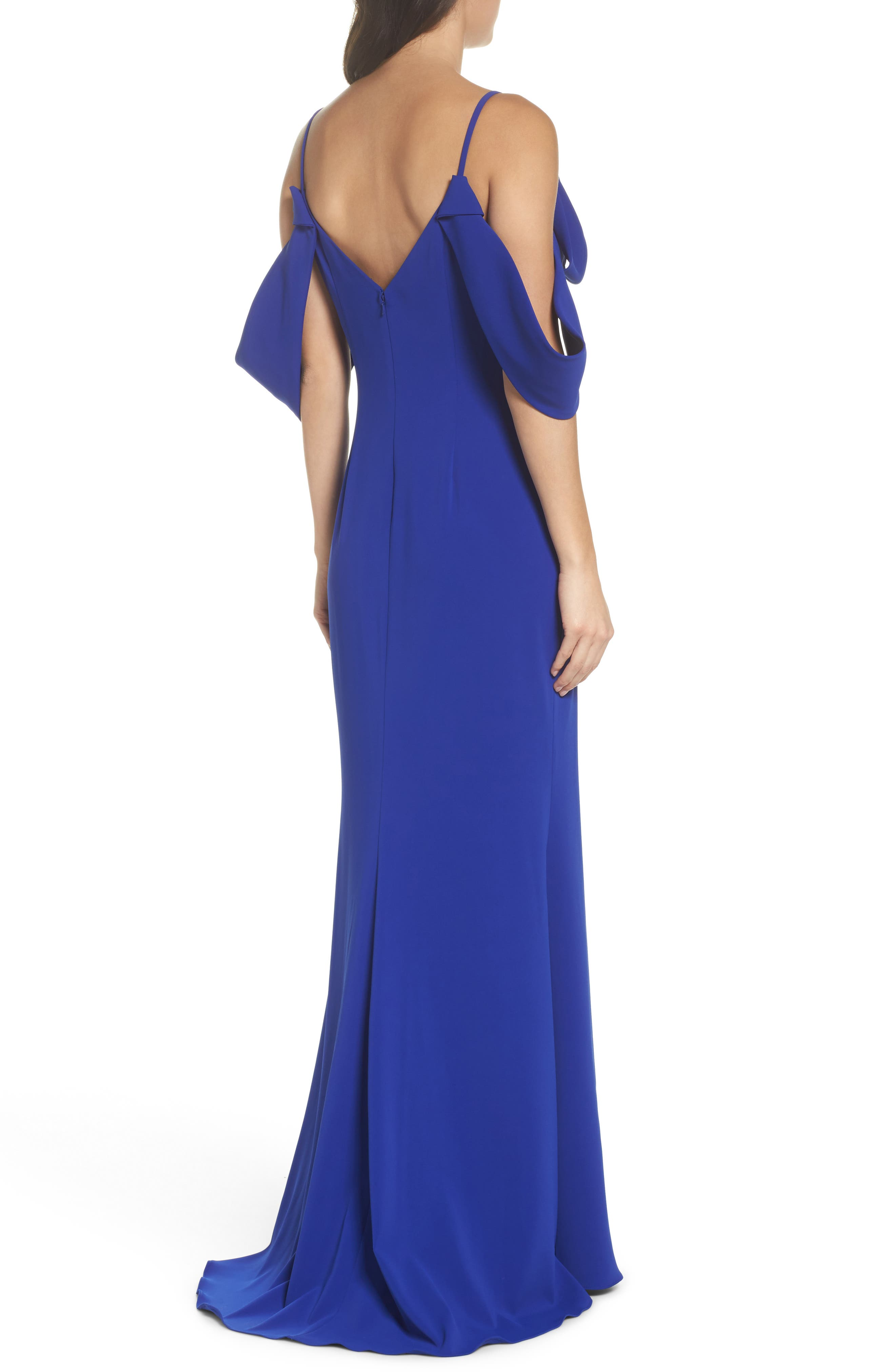 Ribbon Sleeve Cold Shoulder Gown,                             Alternate thumbnail 2, color,                             Electric Blue