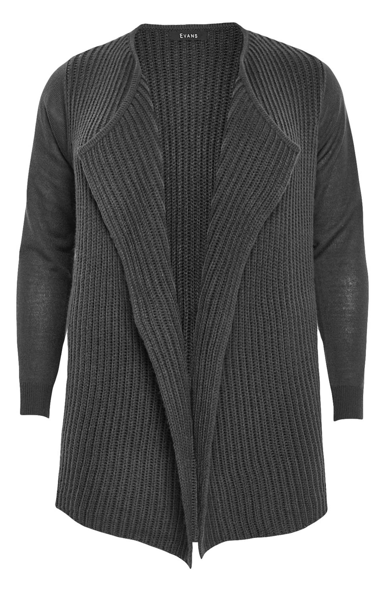 Alternate Image 5  - Evans Ribbed Waterfall Cardigan (Plus Size)