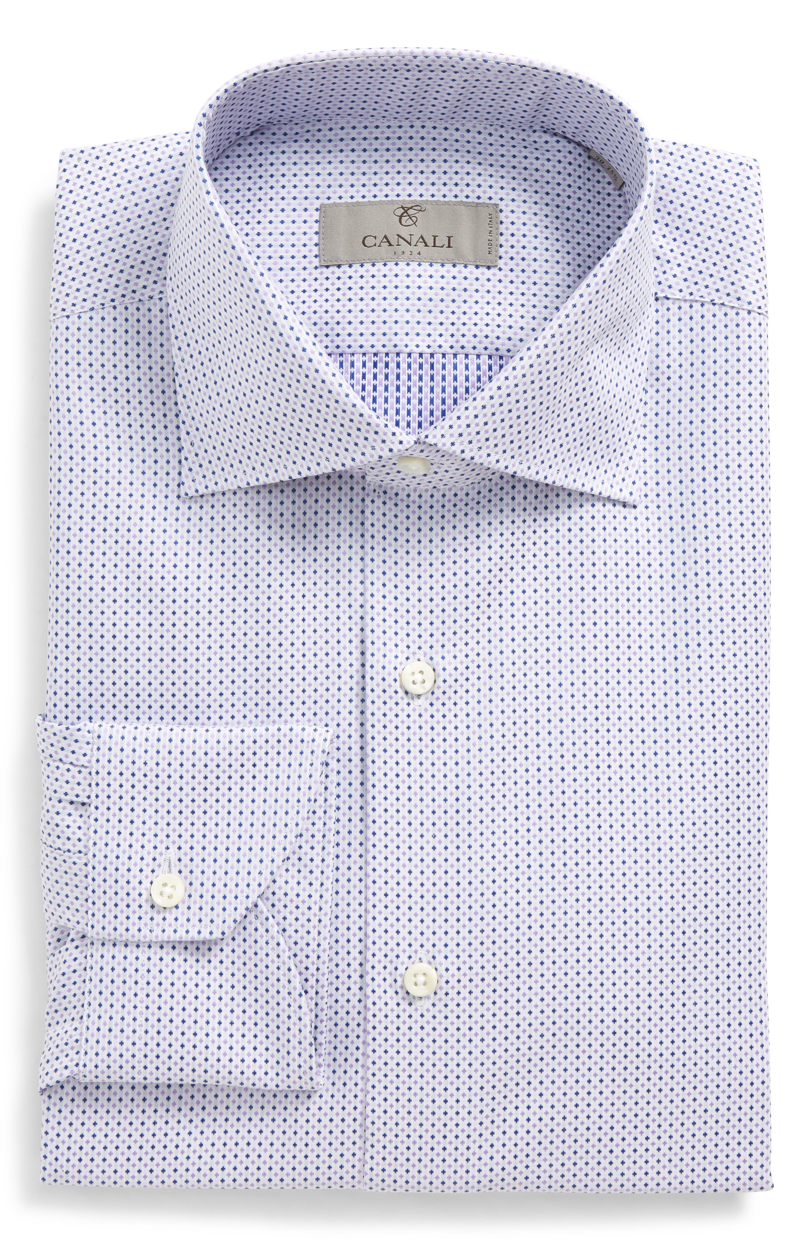 Regular Fit Geometric Dress Shirt,                         Main,                         color, Light Purple