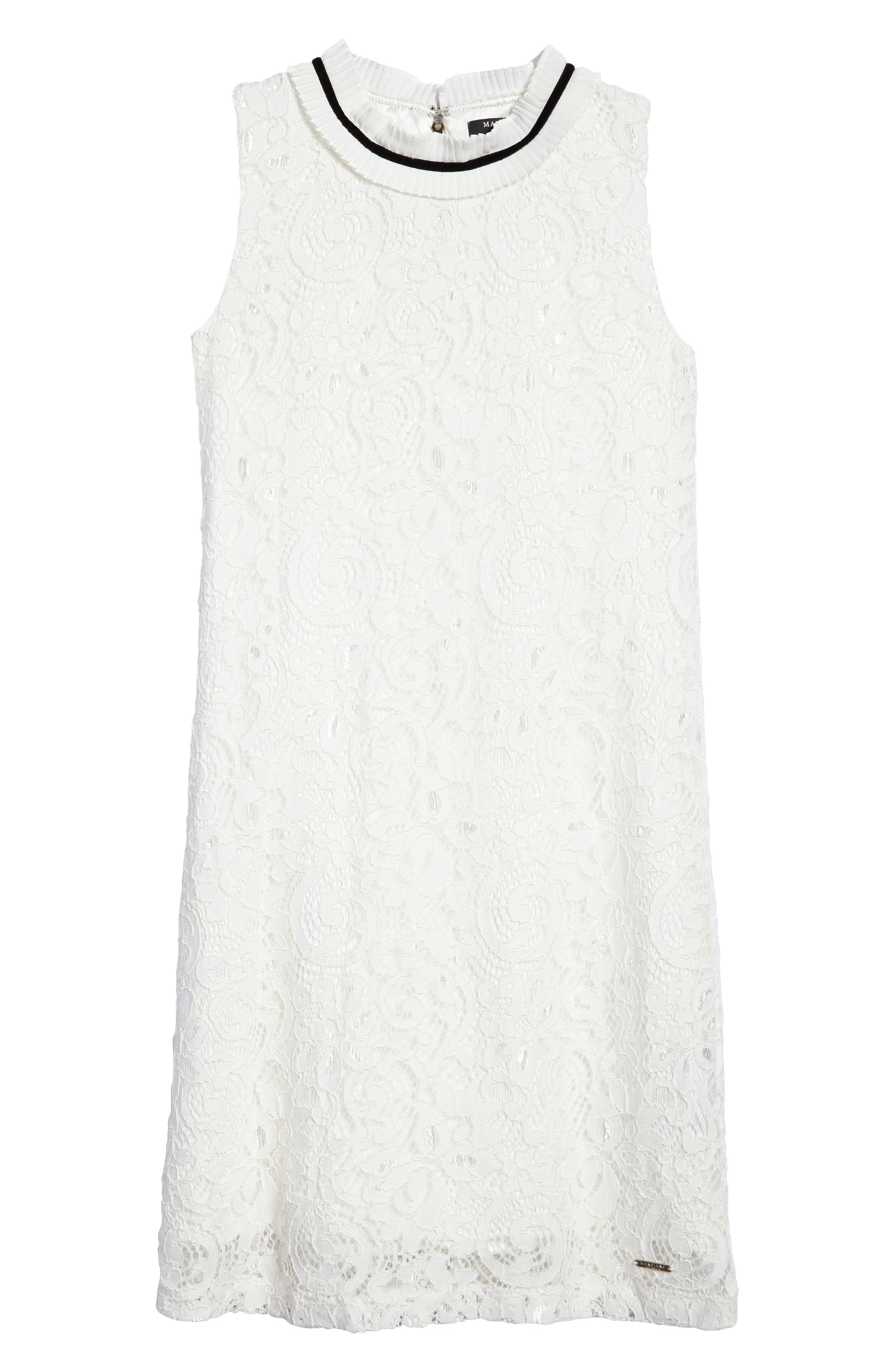 Sleeveless Lace Dress,                         Main,                         color, True White
